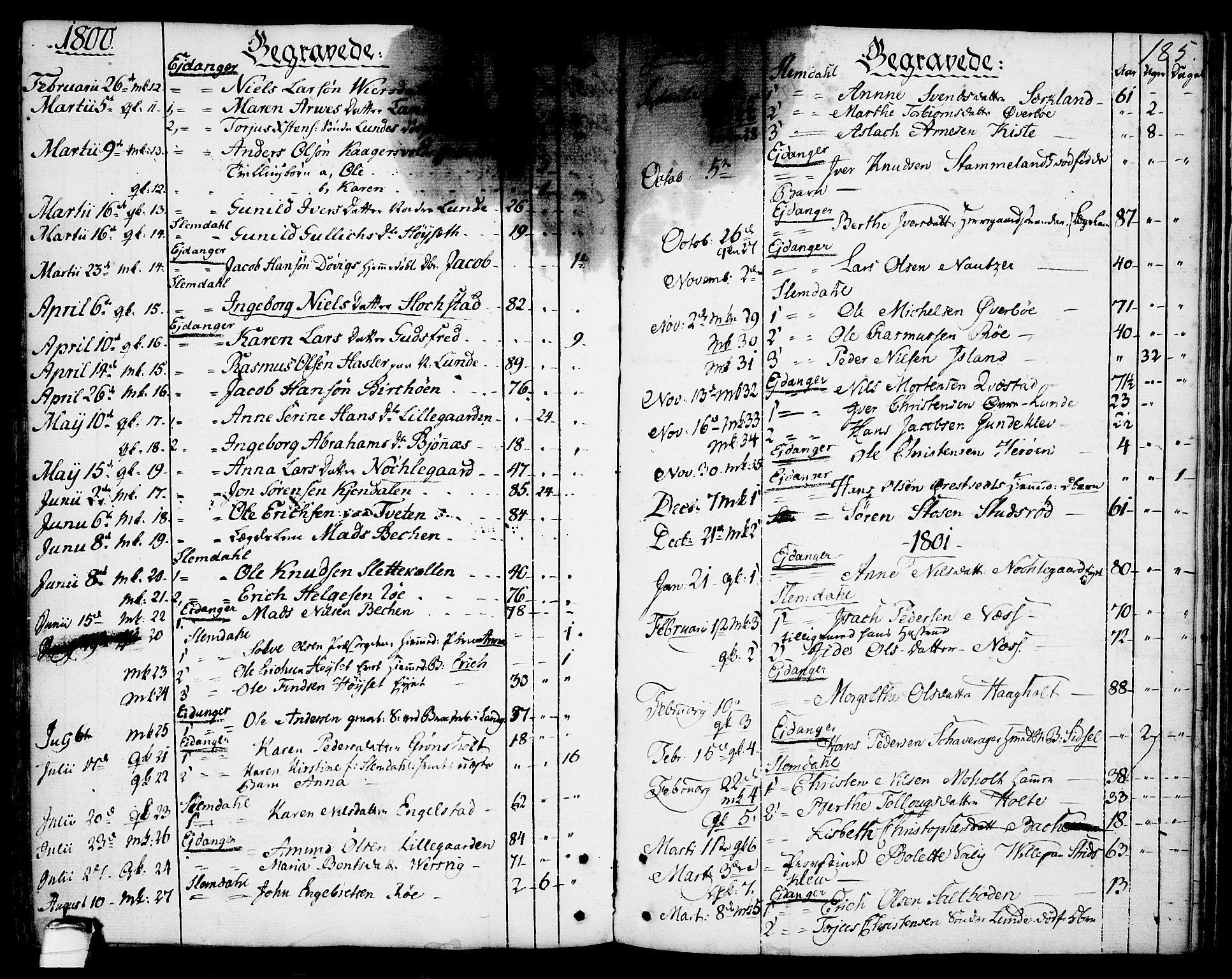 SAKO, Eidanger kirkebøker, F/Fa/L0006: Ministerialbok nr. 6, 1764-1814, s. 185
