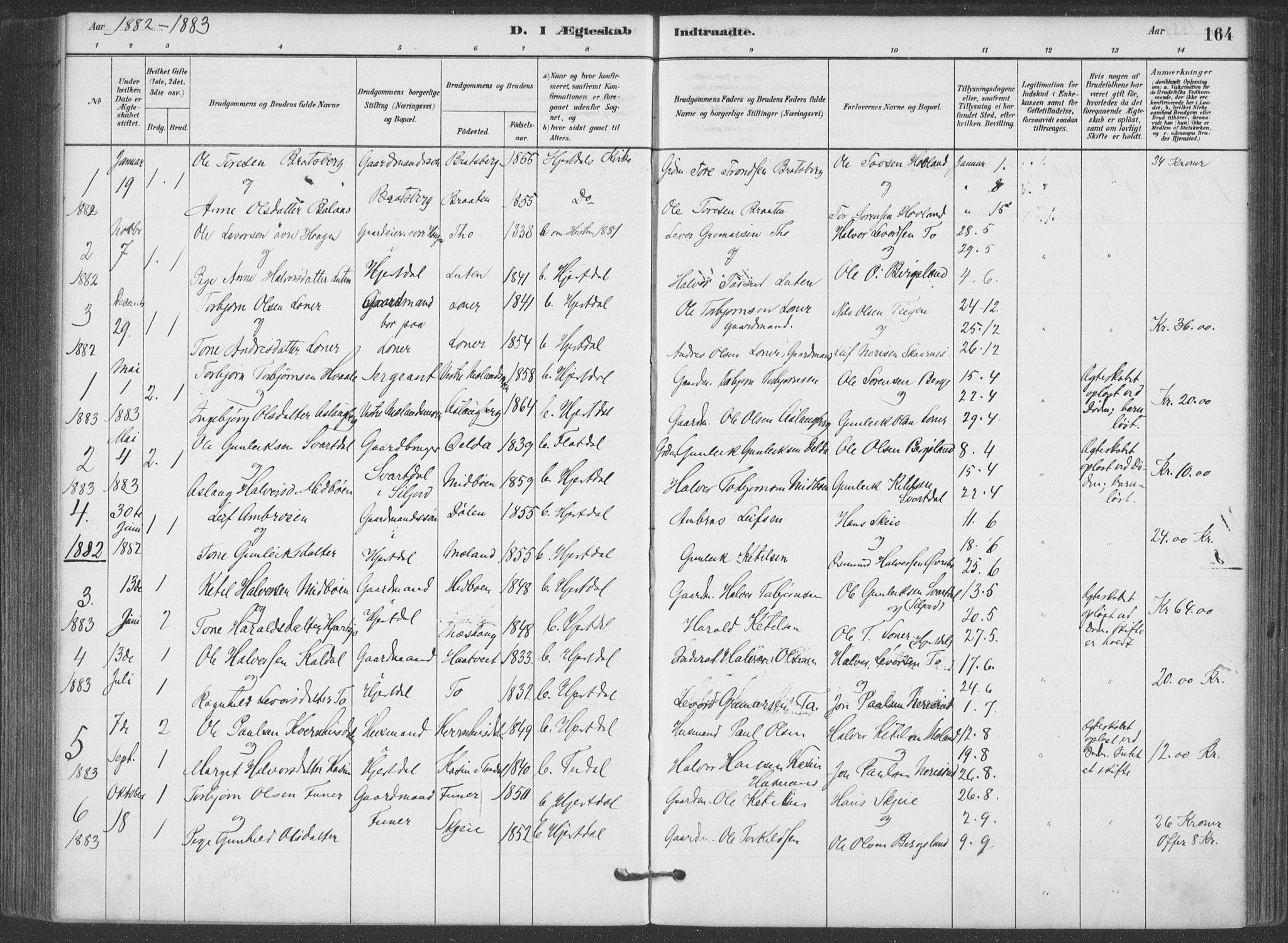 SAKO, Hjartdal kirkebøker, F/Fa/L0010: Ministerialbok nr. I 10, 1880-1929, s. 164