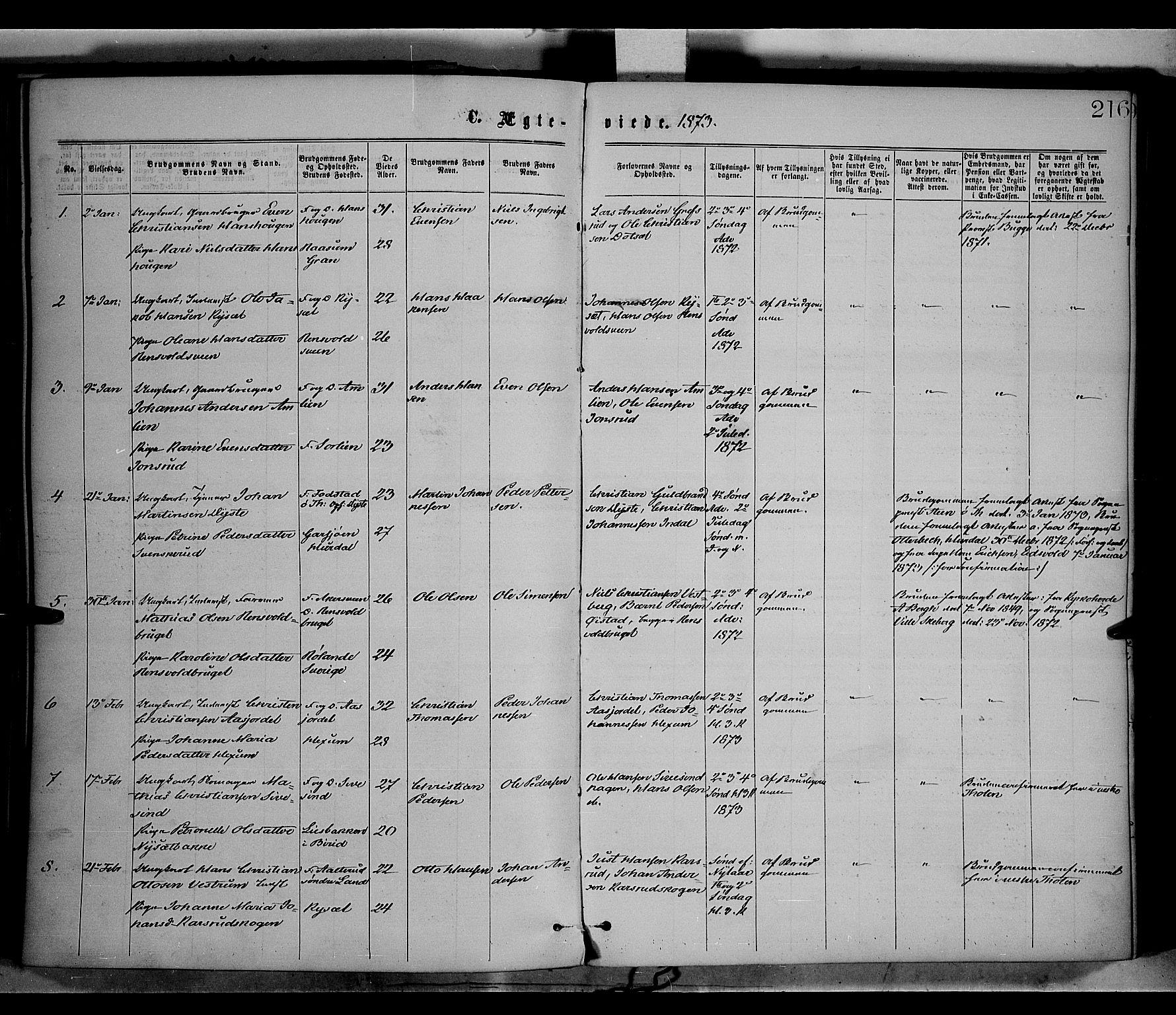 SAH, Vestre Toten prestekontor, Ministerialbok nr. 8, 1870-1877, s. 216