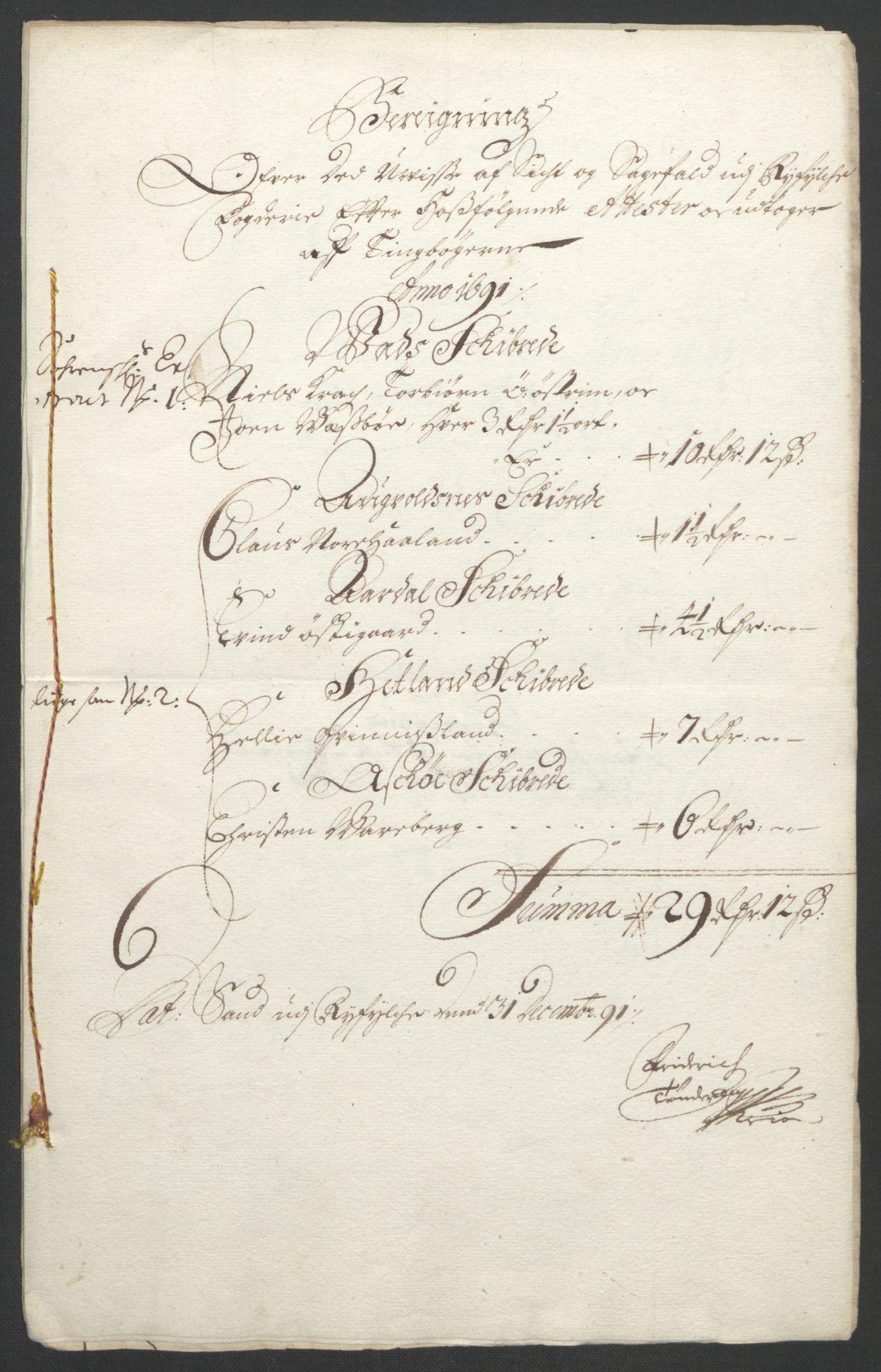 RA, Rentekammeret inntil 1814, Reviderte regnskaper, Fogderegnskap, R47/L2856: Fogderegnskap Ryfylke, 1689-1693, s. 329