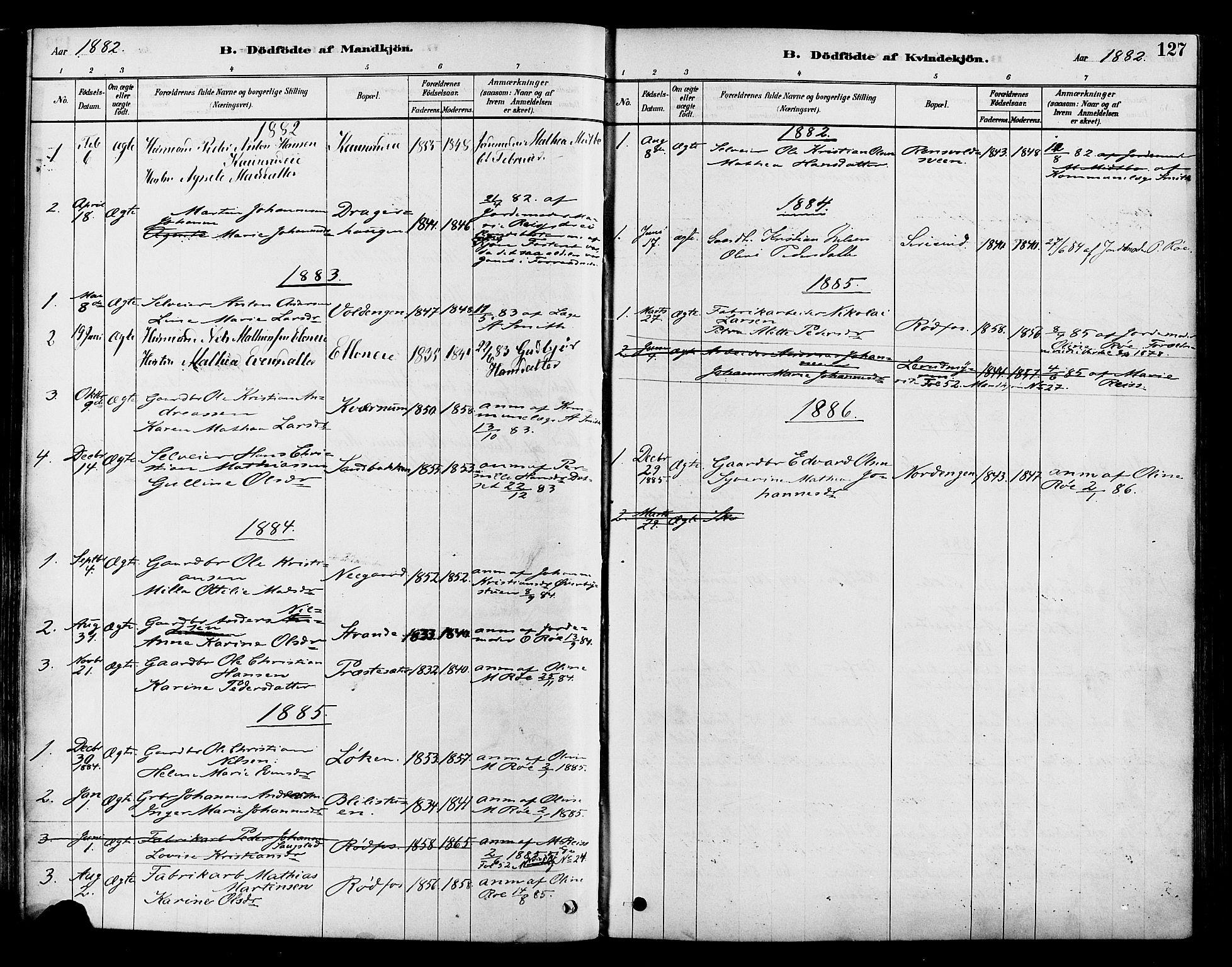 SAH, Vestre Toten prestekontor, Ministerialbok nr. 9, 1878-1894, s. 127
