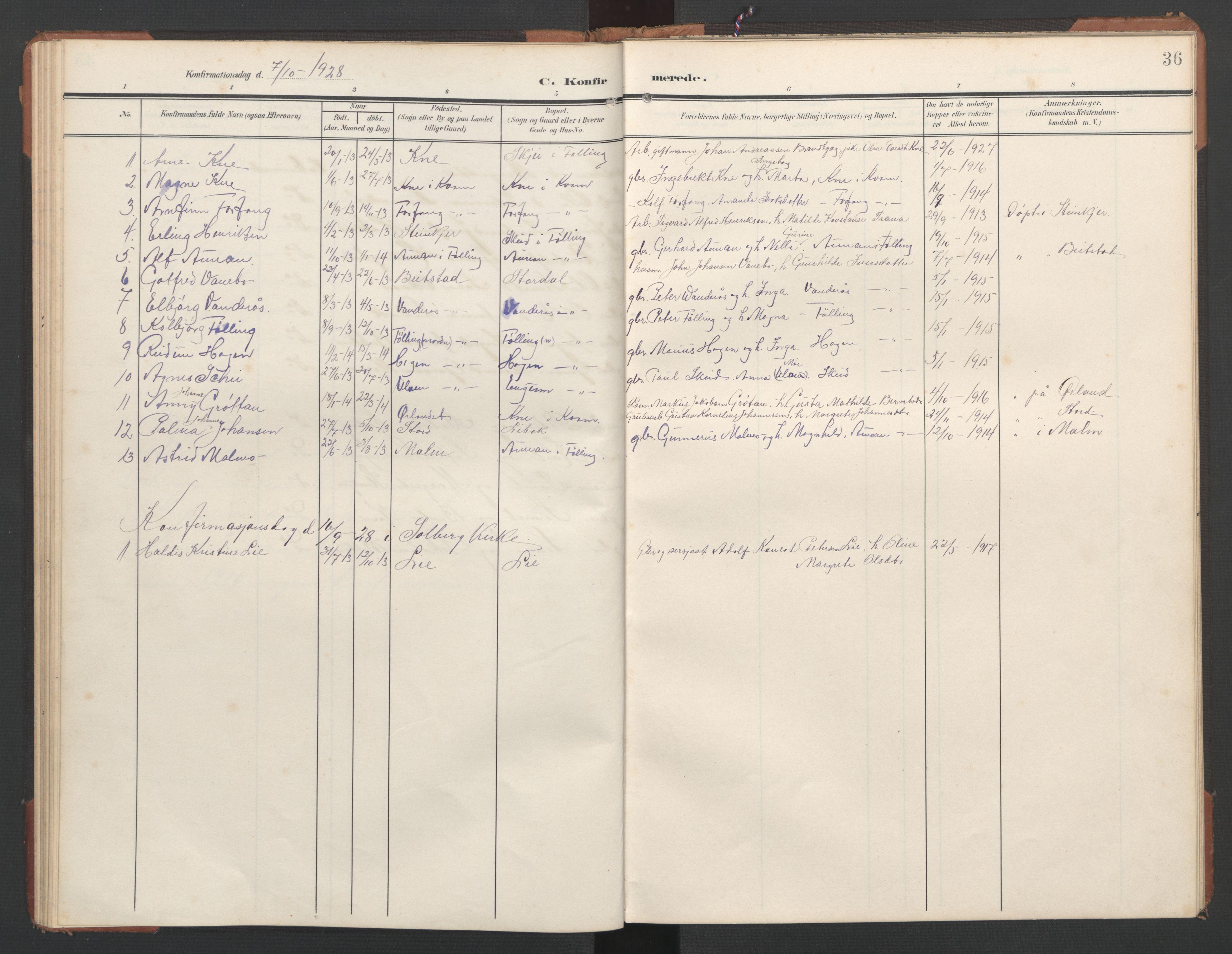 SAT, Ministerialprotokoller, klokkerbøker og fødselsregistre - Nord-Trøndelag, 748/L0465: Klokkerbok nr. 748C01, 1908-1960, s. 36