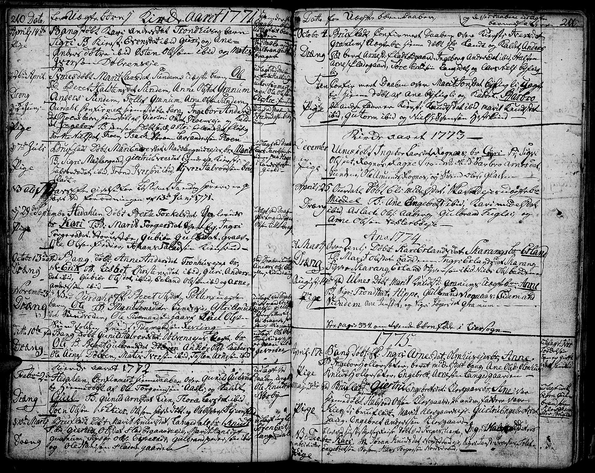 SAH, Aurdal prestekontor, Ministerialbok nr. 5, 1763-1781, s. 210-211