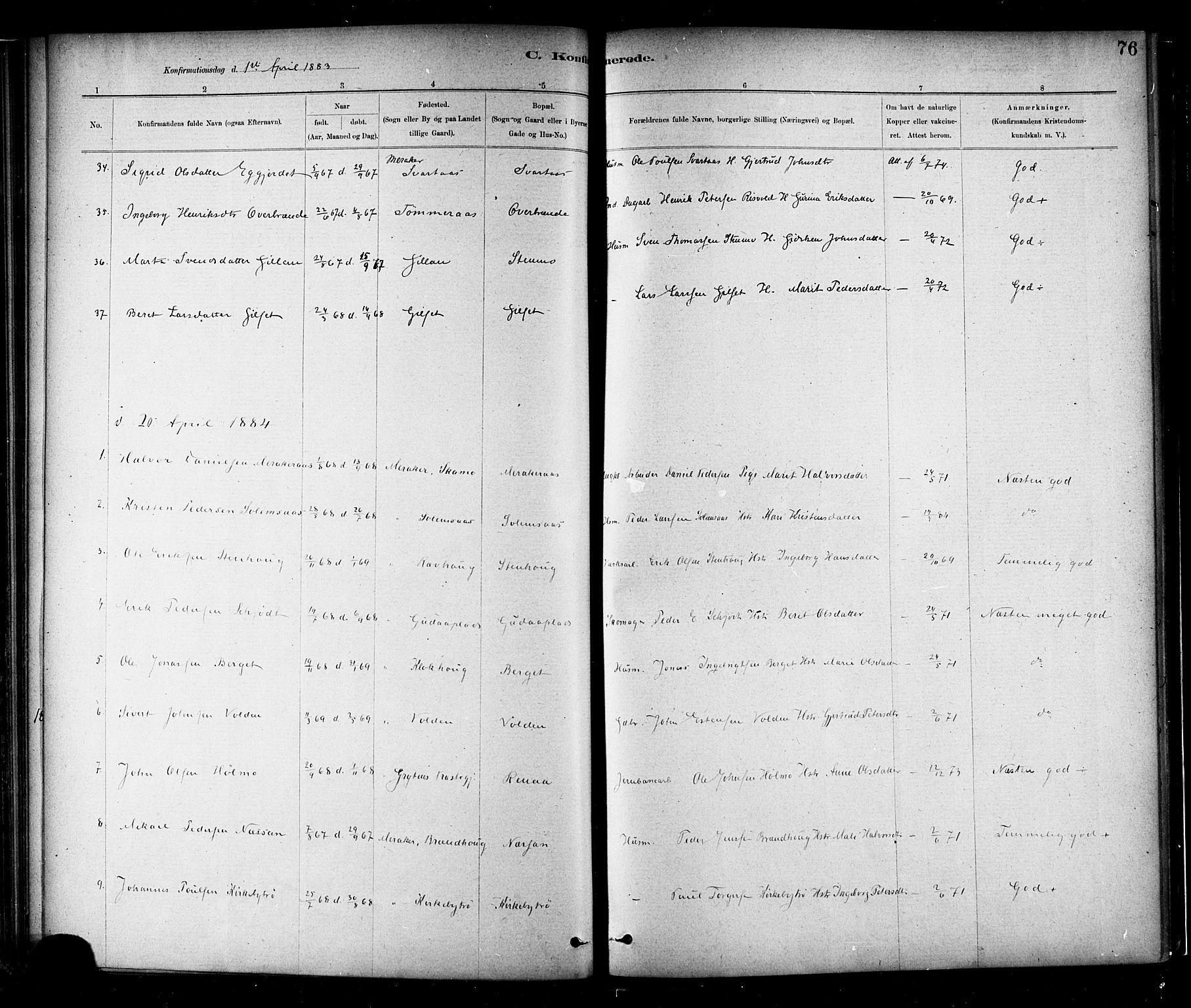 SAT, Ministerialprotokoller, klokkerbøker og fødselsregistre - Nord-Trøndelag, 706/L0047: Ministerialbok nr. 706A03, 1878-1892, s. 76