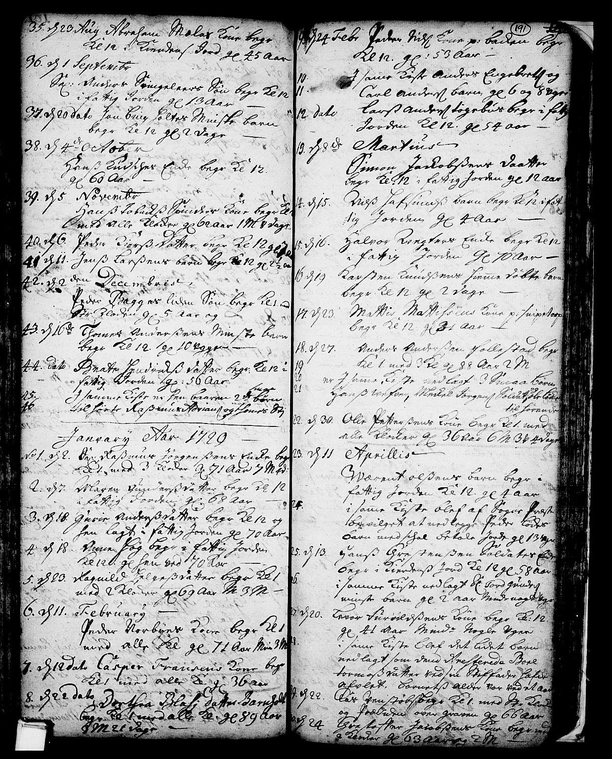 SAKO, Skien kirkebøker, F/Fa/L0002: Ministerialbok nr. 2, 1716-1757, s. 191