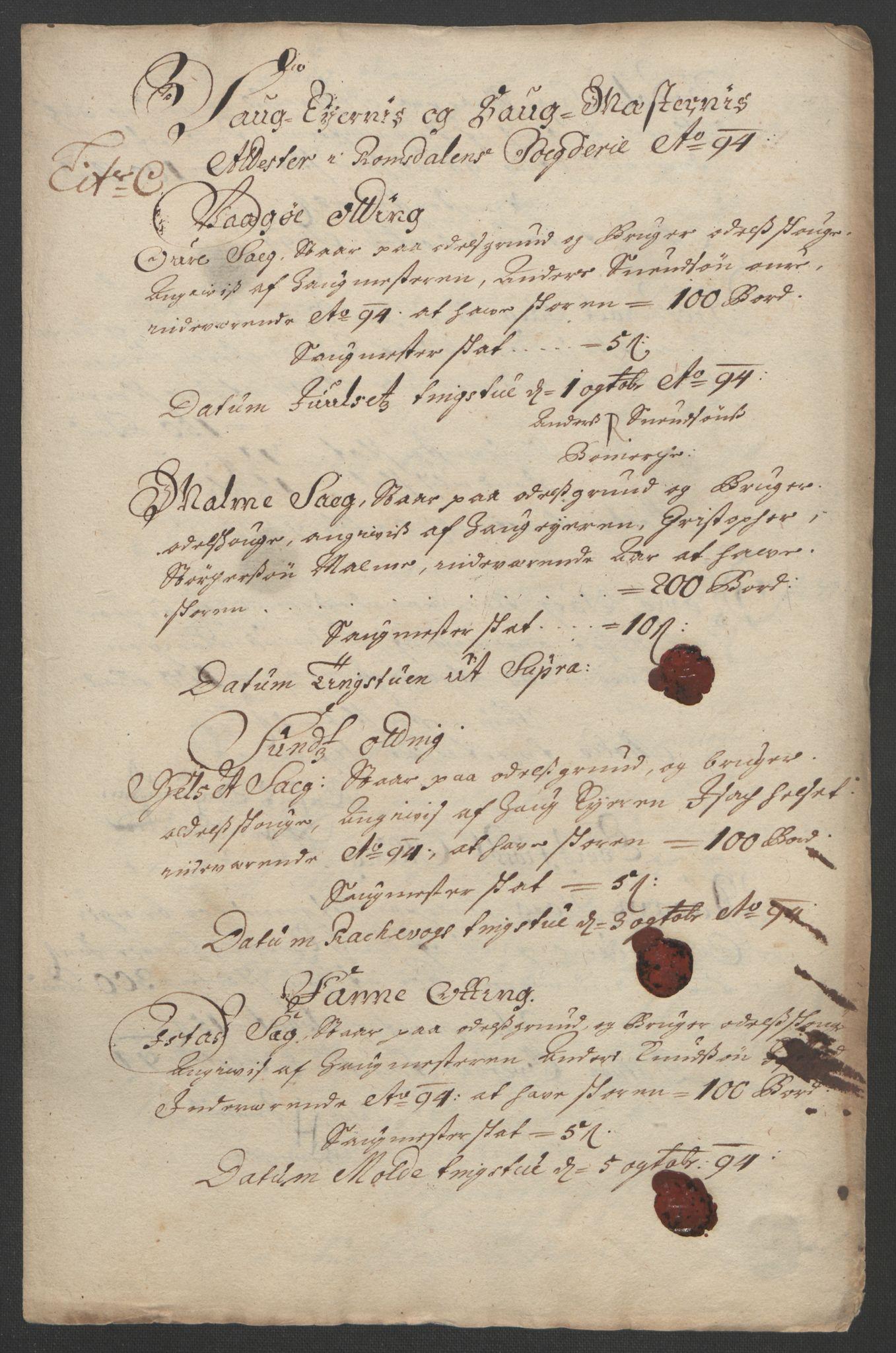 RA, Rentekammeret inntil 1814, Reviderte regnskaper, Fogderegnskap, R55/L3651: Fogderegnskap Romsdal, 1693-1694, s. 230