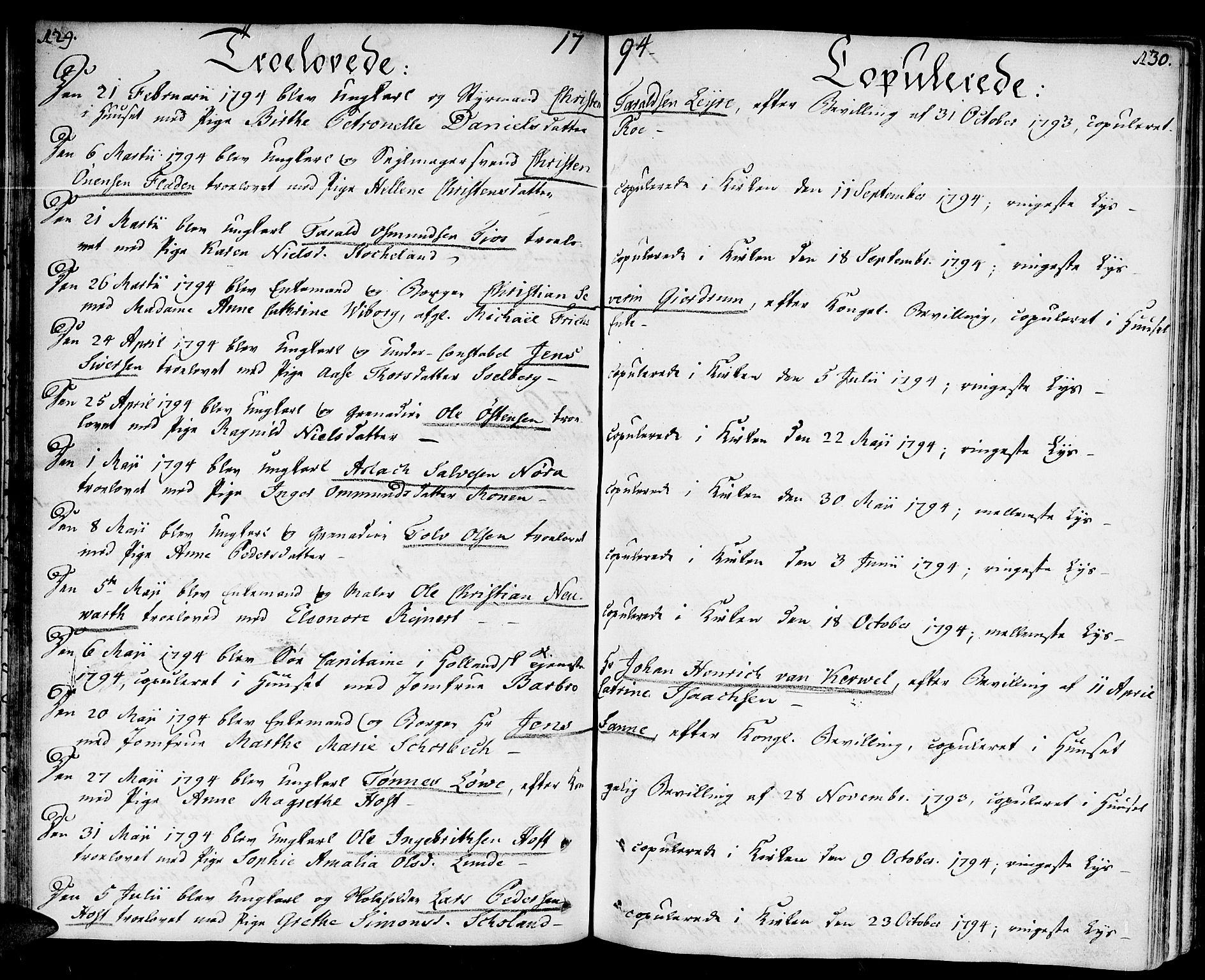 SAK, Kristiansand domprosti, F/Fa/L0005: Ministerialbok nr. A 5, 1776-1818, s. 129-130