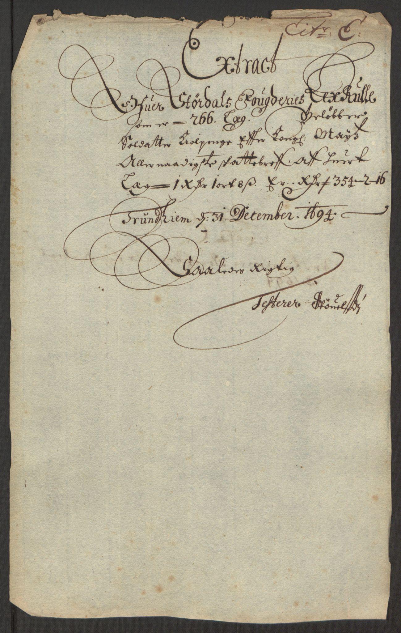 RA, Rentekammeret inntil 1814, Reviderte regnskaper, Fogderegnskap, R62/L4186: Fogderegnskap Stjørdal og Verdal, 1693-1694, s. 205