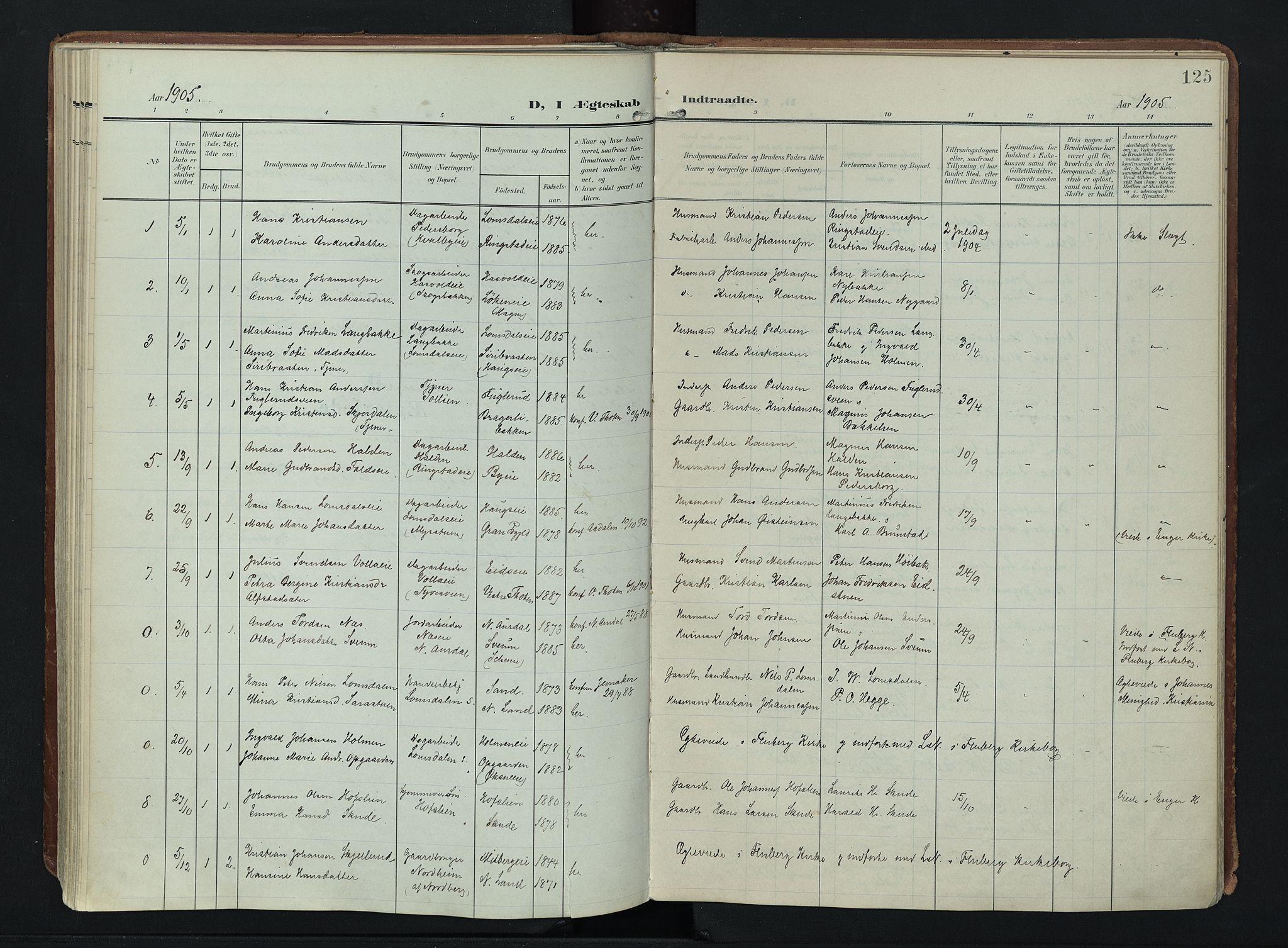 SAH, Søndre Land prestekontor, K/L0007: Ministerialbok nr. 7, 1905-1914, s. 125