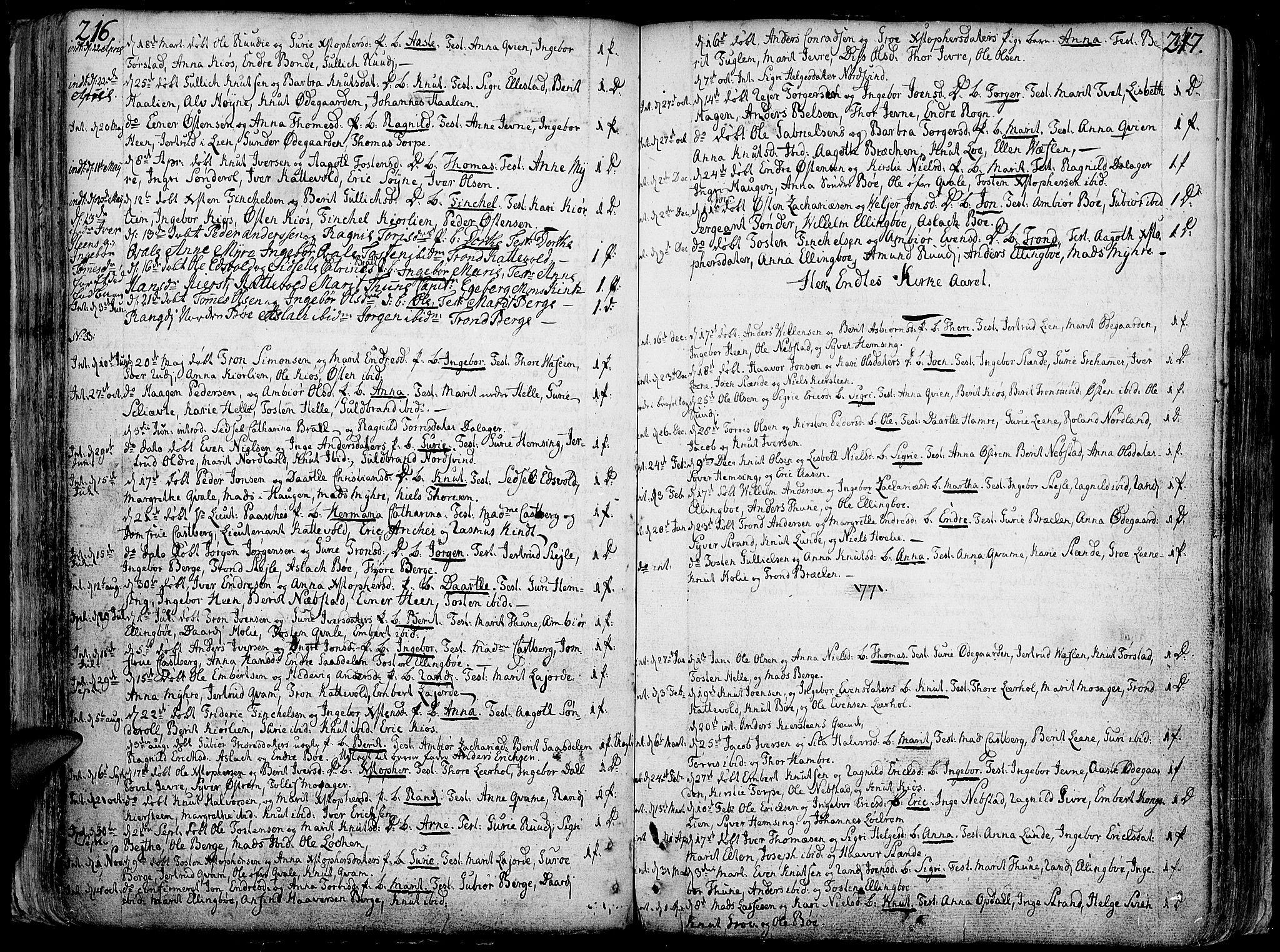 SAH, Vang prestekontor, Valdres, Ministerialbok nr. 1, 1730-1796, s. 216-217