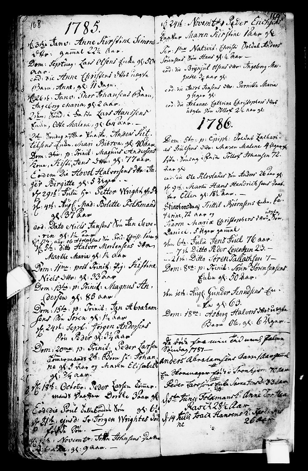 SAKO, Porsgrunn kirkebøker , G/Ga/L0001: Klokkerbok nr. I 1, 1766-1790, s. 168-169