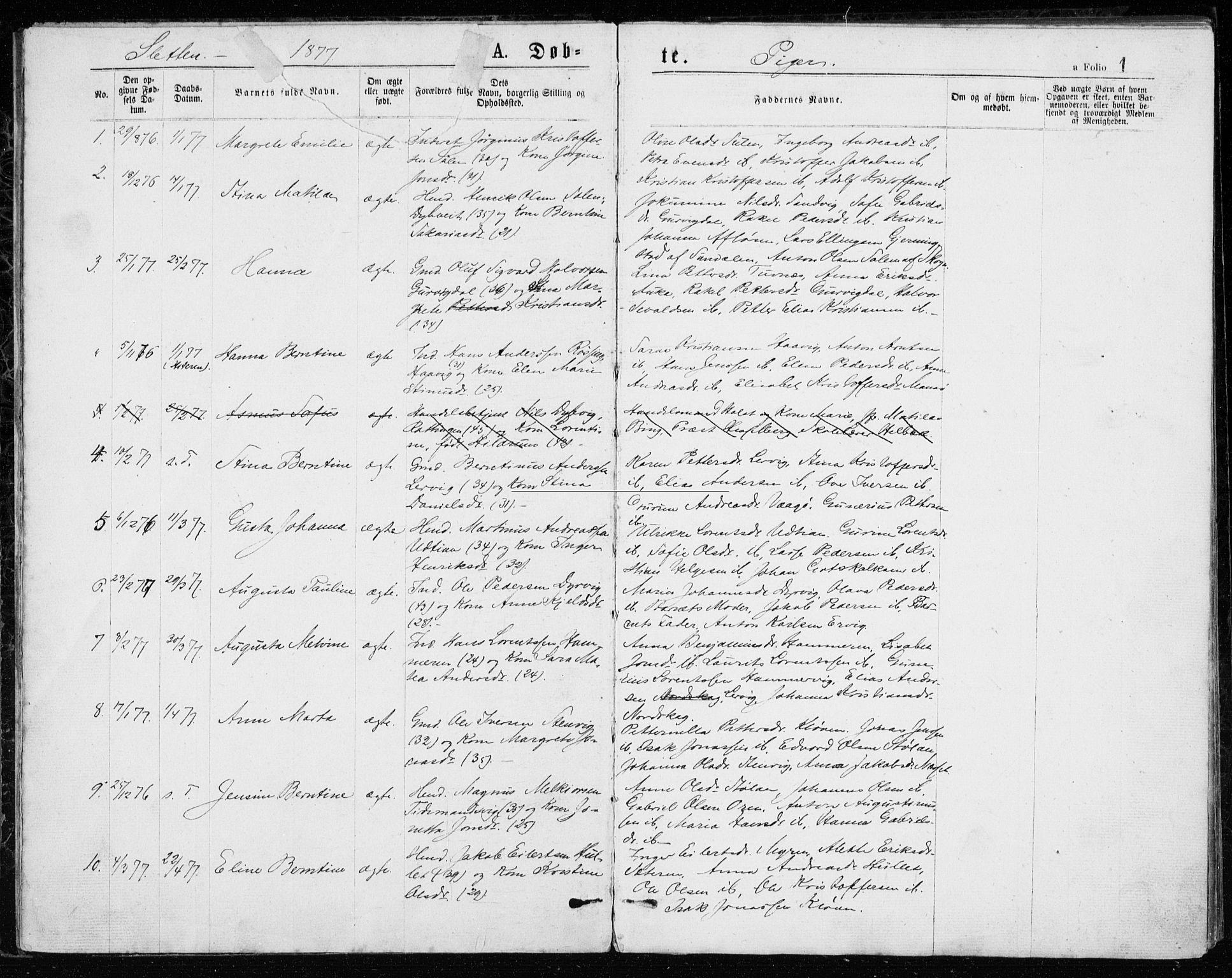 SAT, Ministerialprotokoller, klokkerbøker og fødselsregistre - Sør-Trøndelag, 640/L0577: Ministerialbok nr. 640A02, 1877-1878, s. 1