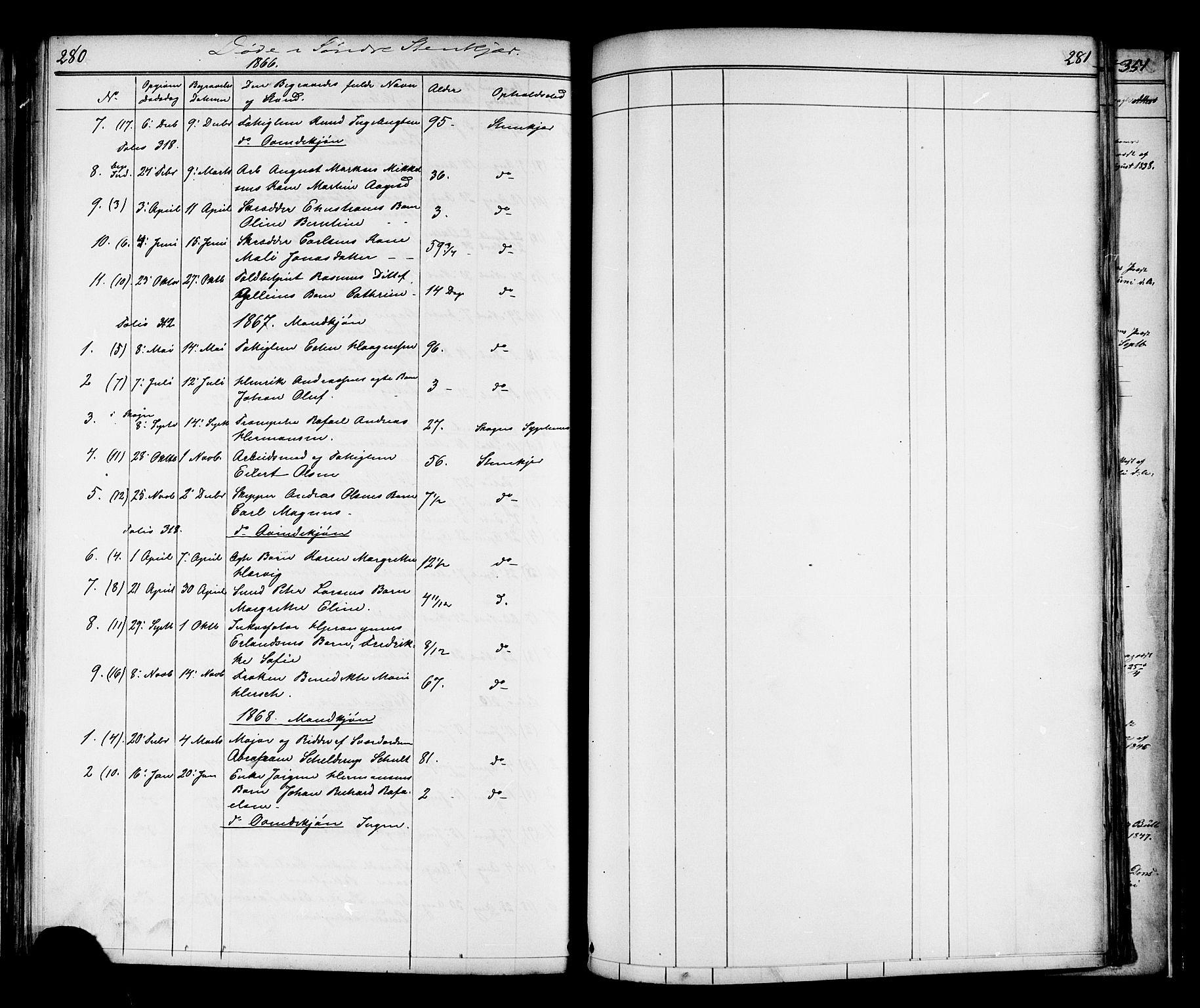 SAT, Ministerialprotokoller, klokkerbøker og fødselsregistre - Nord-Trøndelag, 739/L0367: Ministerialbok nr. 739A01 /1, 1838-1868, s. 280-281
