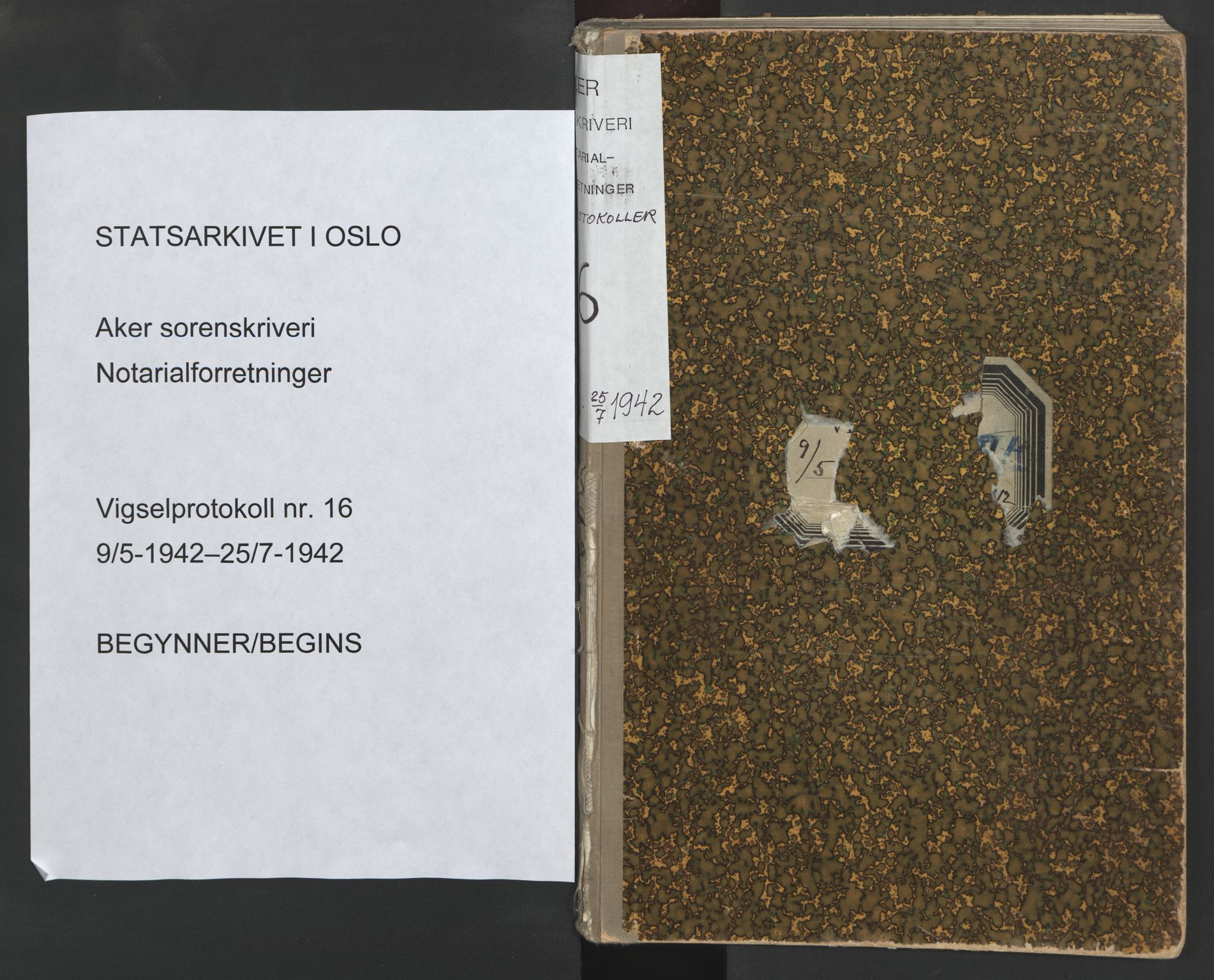 SAO, Aker sorenskriveri, L/Lc/Lcb/L0016: Vigselprotokoll, 1942, s. upaginert