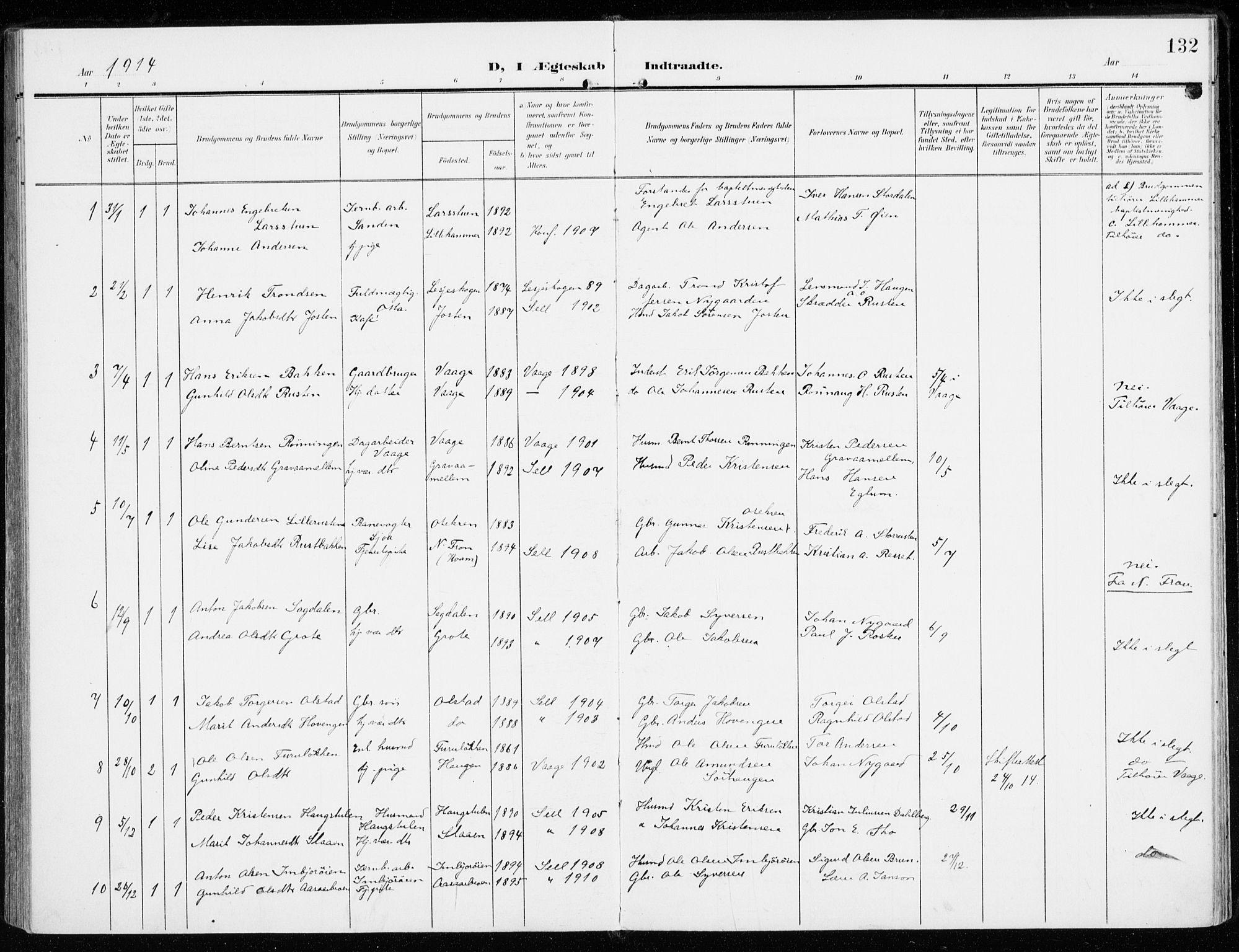 SAH, Sel prestekontor, Ministerialbok nr. 2, 1905-1919, s. 132