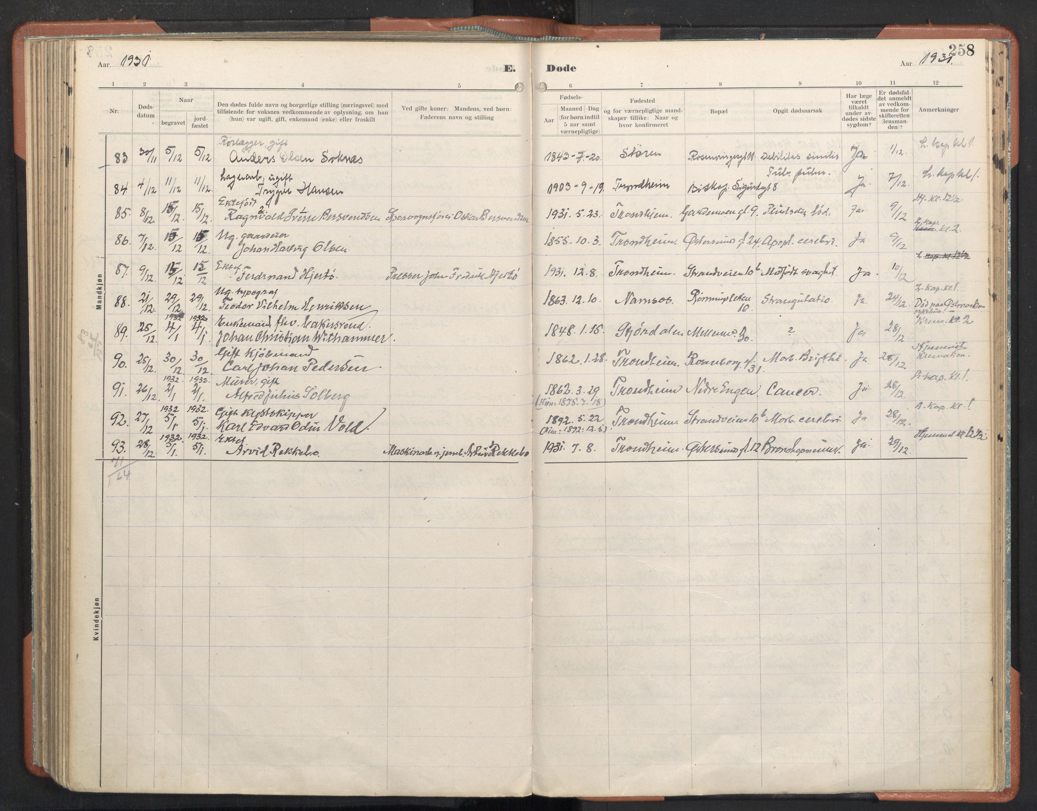 SAT, Ministerialprotokoller, klokkerbøker og fødselsregistre - Sør-Trøndelag, 605/L0245: Ministerialbok nr. 605A07, 1916-1938, s. 258