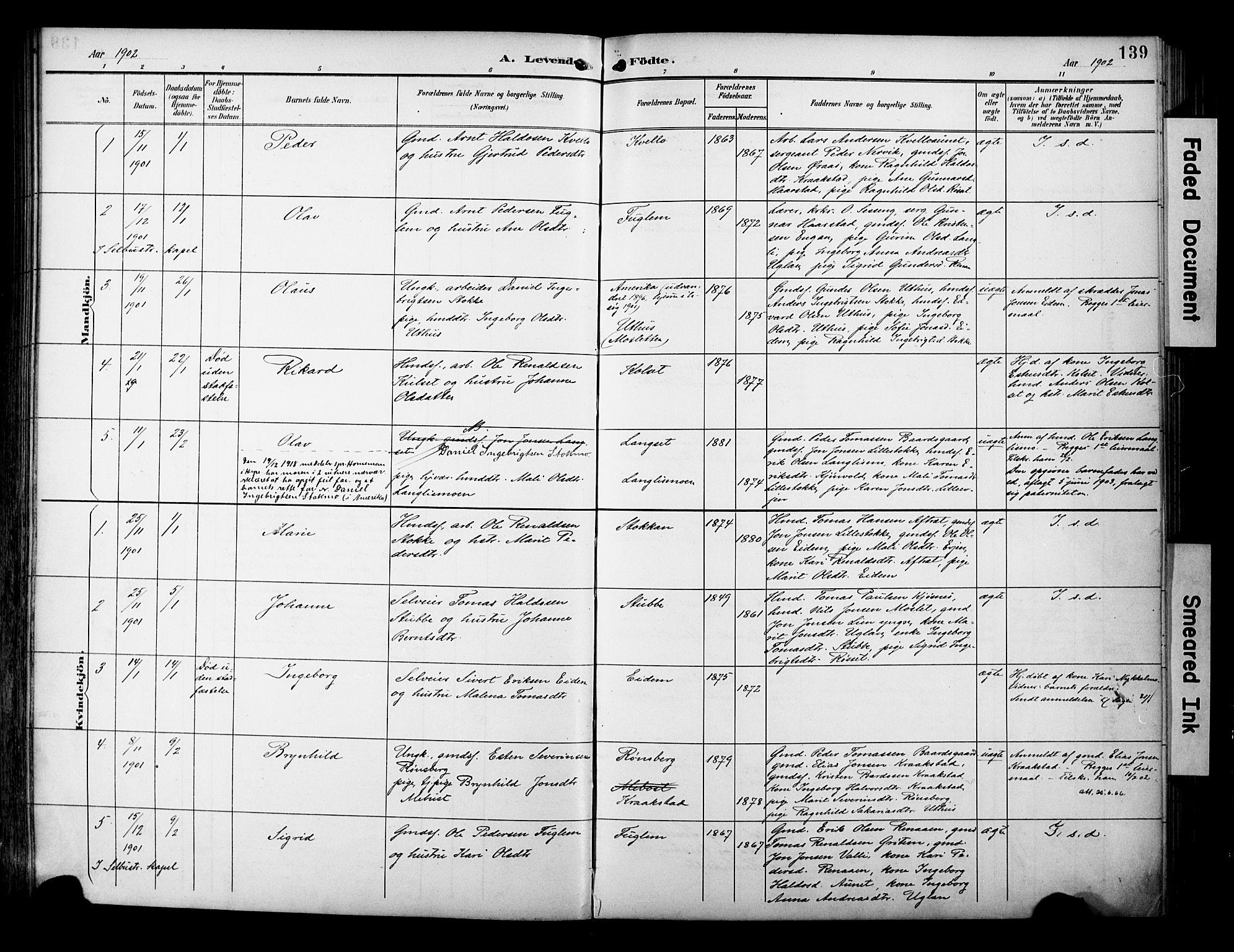 SAT, Ministerialprotokoller, klokkerbøker og fødselsregistre - Sør-Trøndelag, 695/L1149: Ministerialbok nr. 695A09, 1891-1902, s. 139