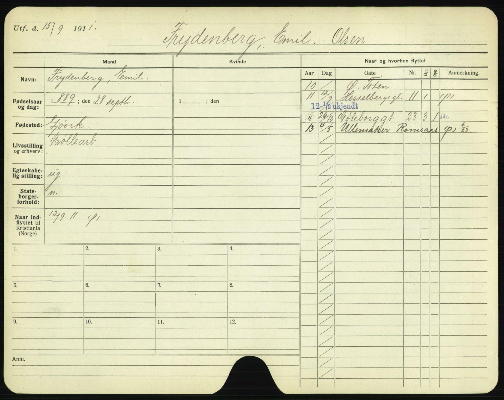 SAO, Oslo folkeregister, Registerkort, F/Fa/Fac/L0003: Menn, 1906-1914, s. 326a