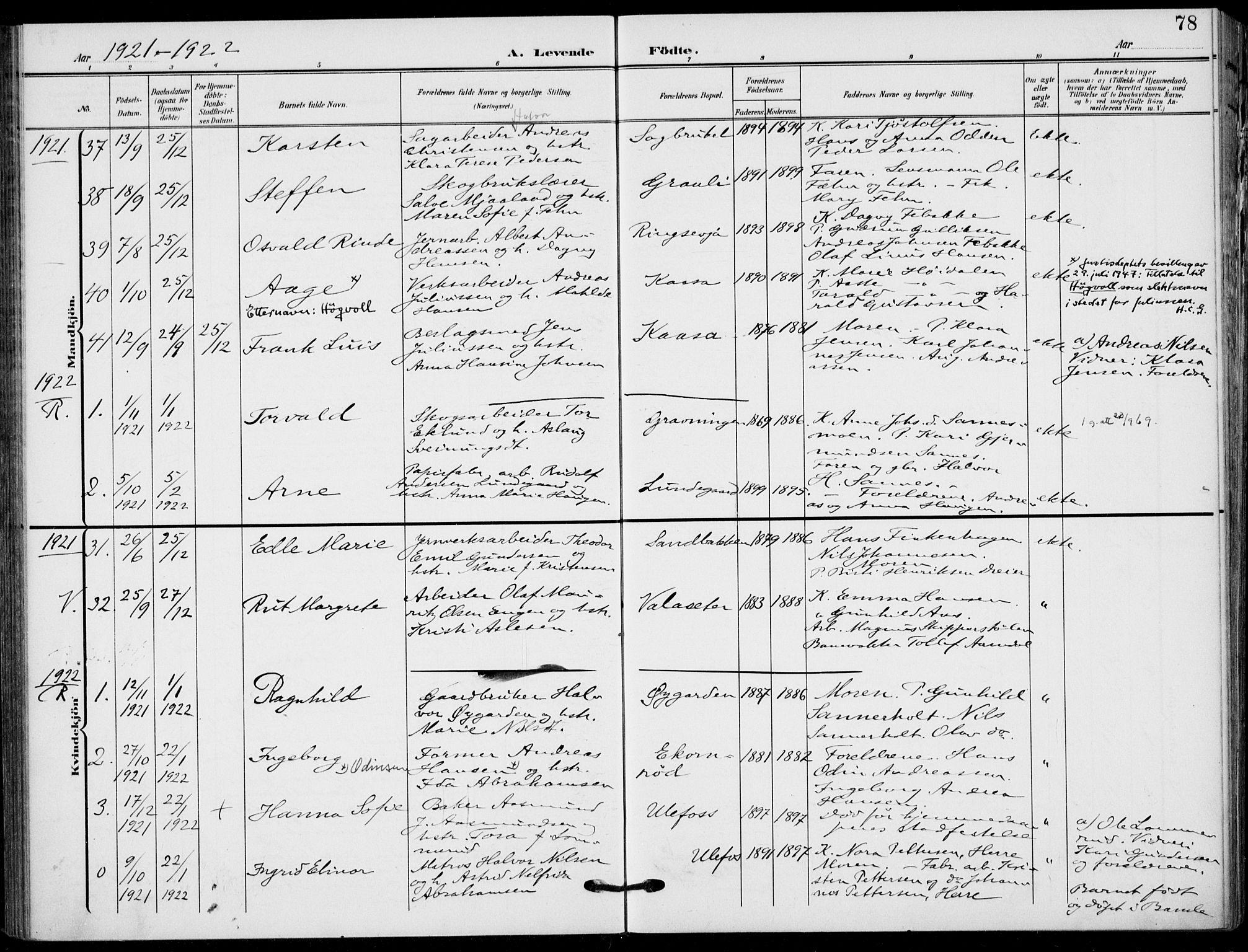 SAKO, Holla kirkebøker, F/Fa/L0012: Ministerialbok nr. 12, 1907-1923, s. 78