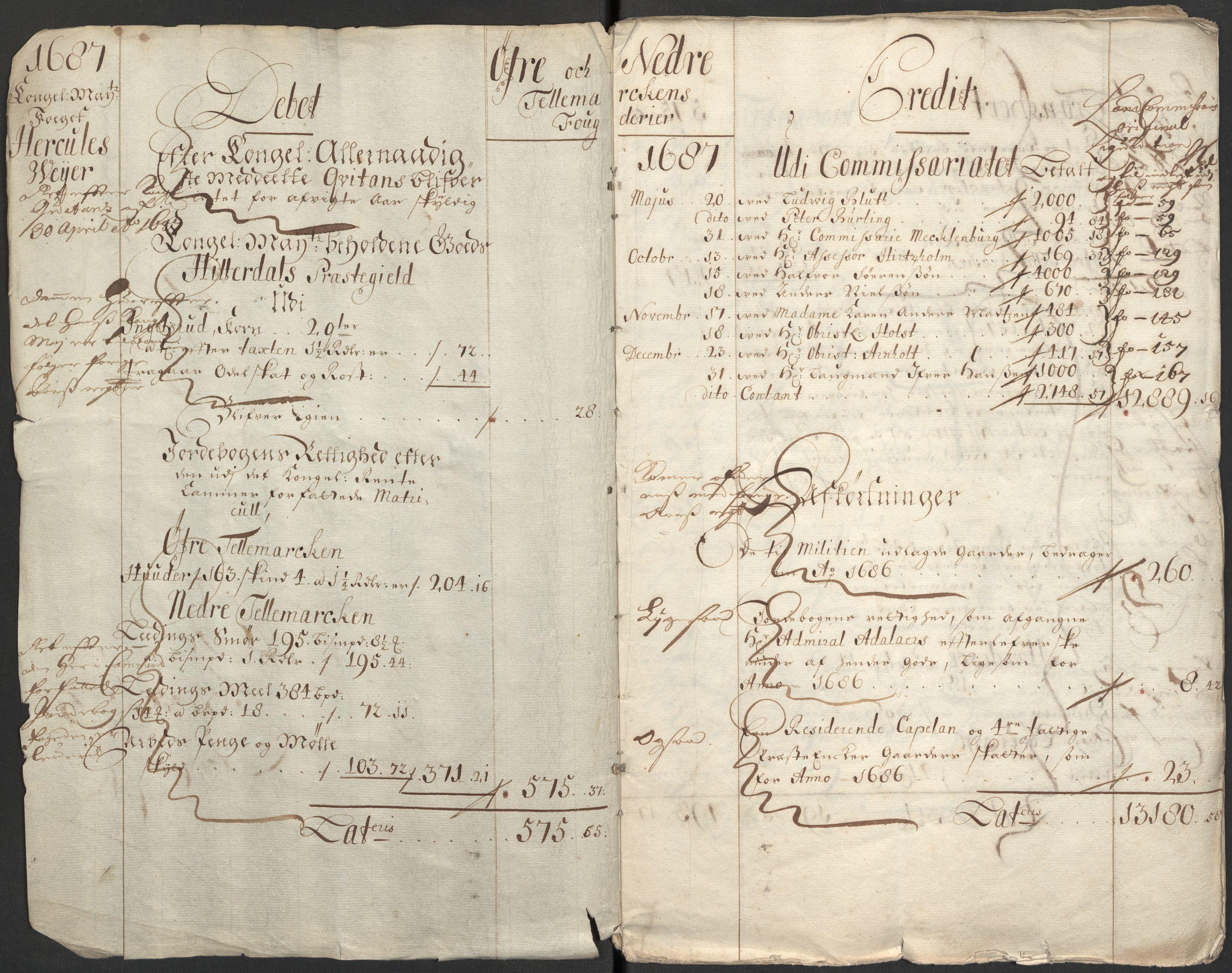 RA, Rentekammeret inntil 1814, Reviderte regnskaper, Fogderegnskap, R35/L2086: Fogderegnskap Øvre og Nedre Telemark, 1687-1689, s. 4