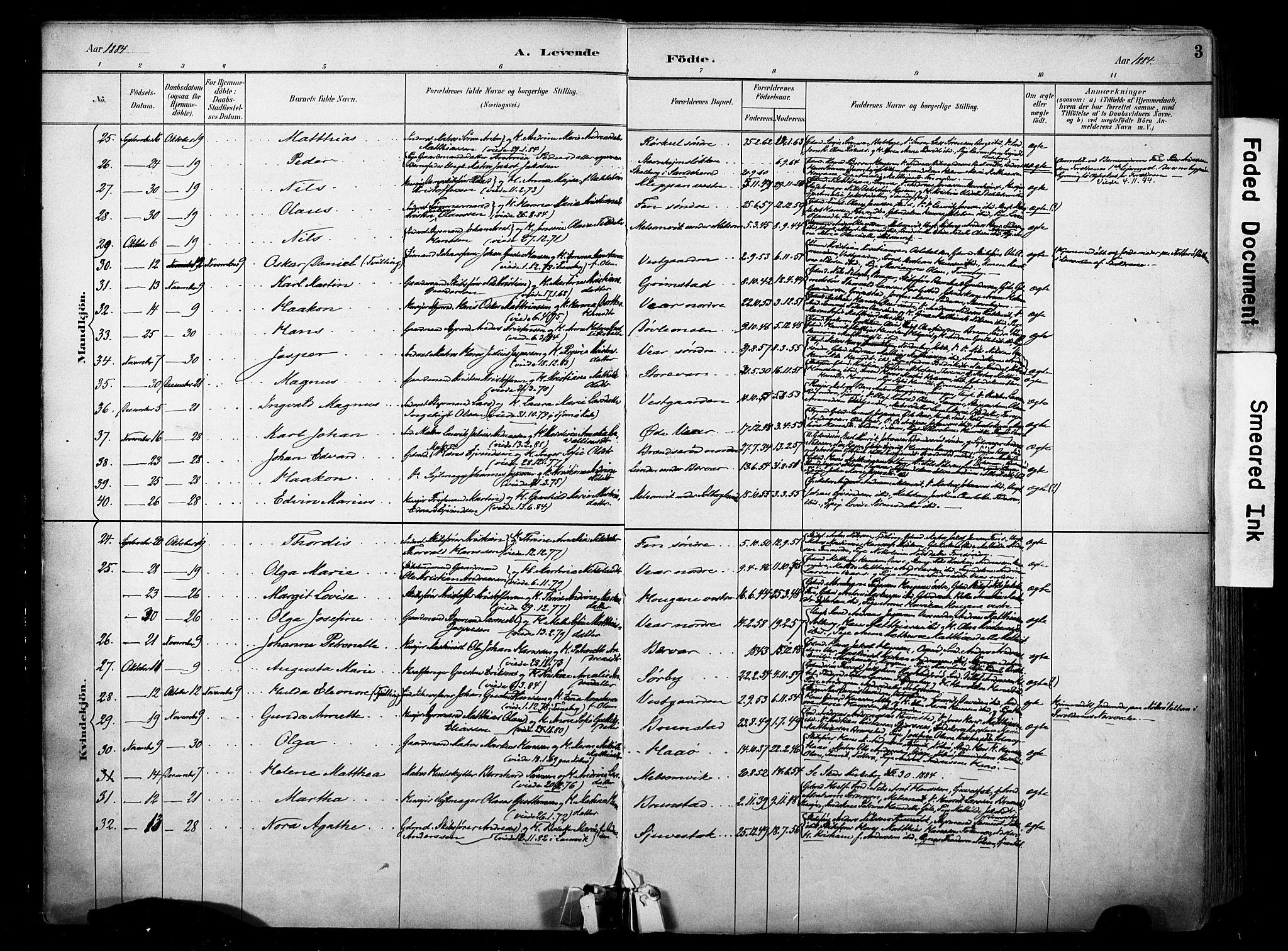 SAKO, Stokke kirkebøker, F/Fa/L0010: Ministerialbok nr. I 10, 1884-1903, s. 3