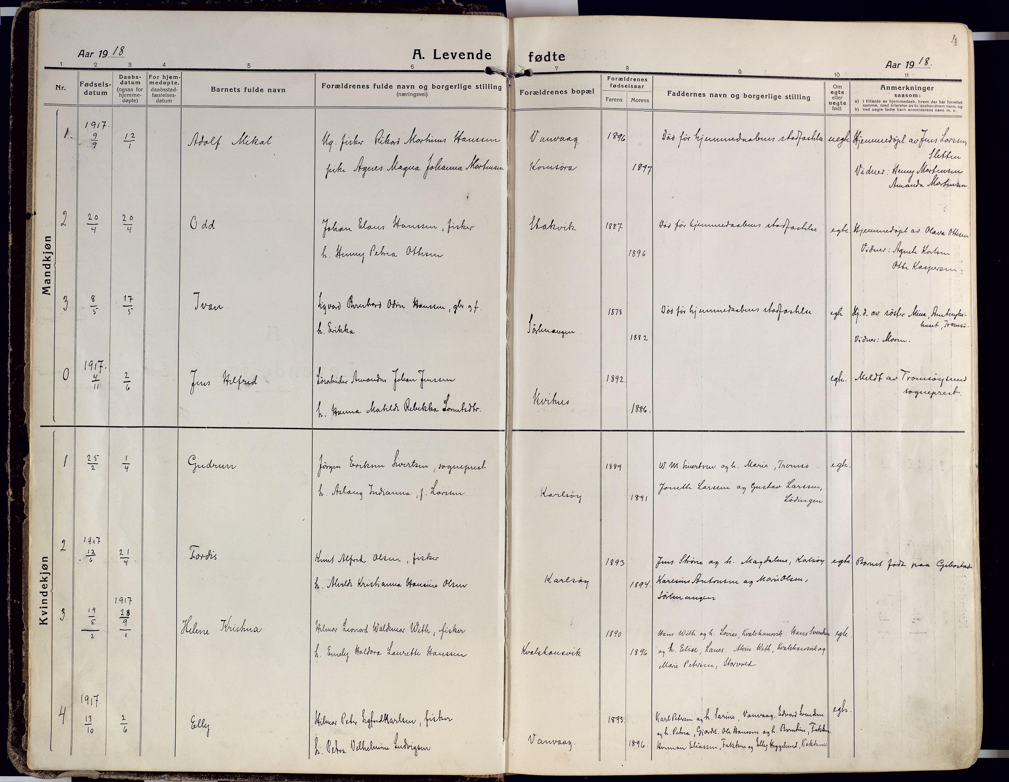 SATØ, Karlsøy sokneprestembete, Ministerialbok nr. 15, 1918-1929, s. 4