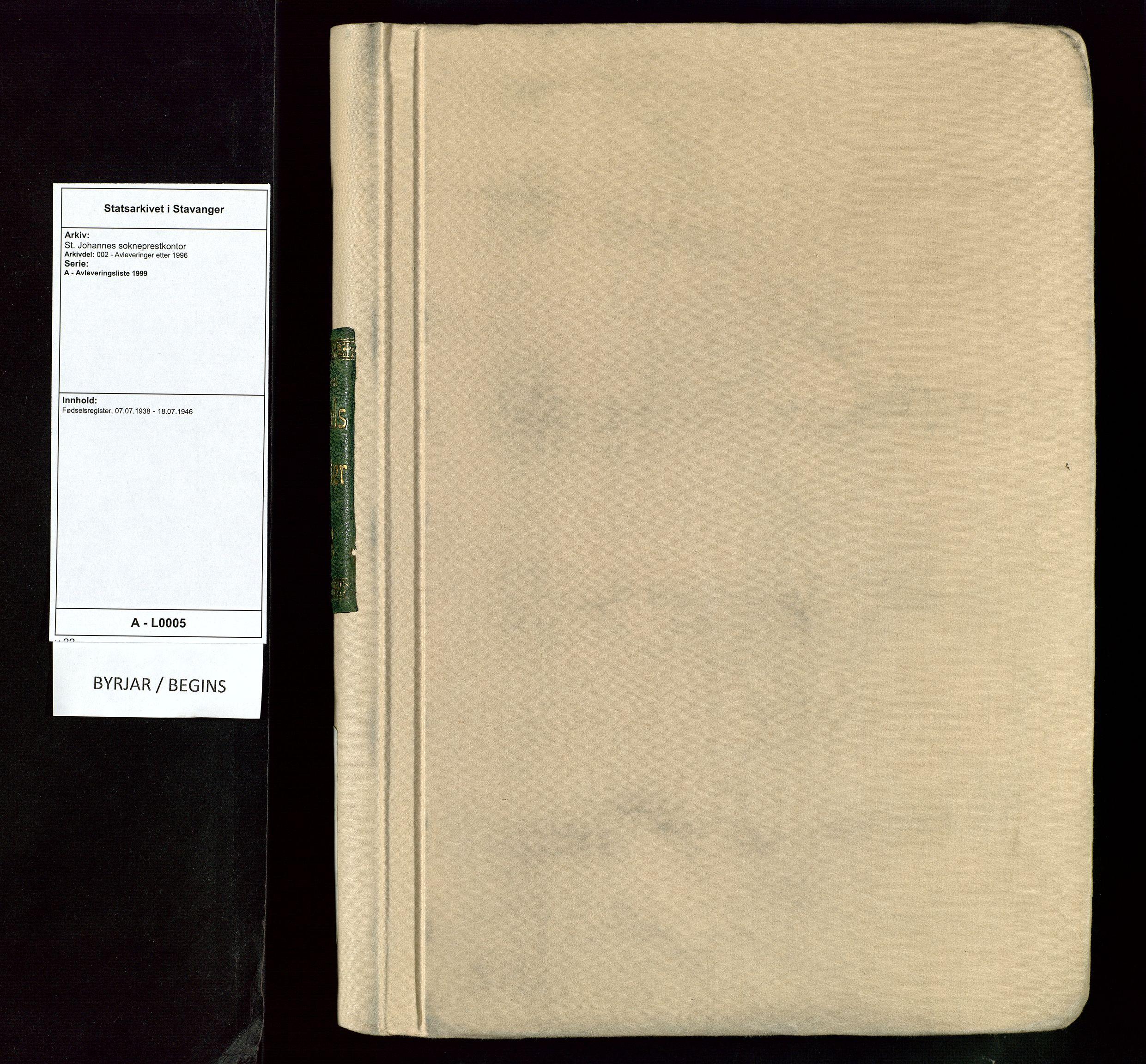SAST, St. Johannes sokneprestkontor, 904CA/904/904CA: Fødselsregister nr. 5, 1938-1946