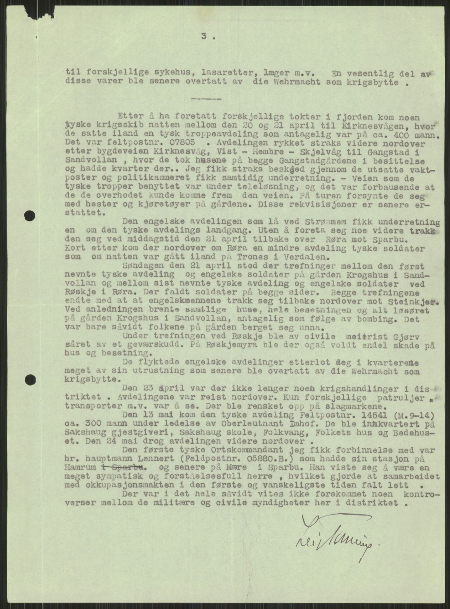 RA, Forsvaret, Forsvarets krigshistoriske avdeling, Y/Ya/L0016: II-C-11-31 - Fylkesmenn.  Rapporter om krigsbegivenhetene 1940., 1940, s. 481