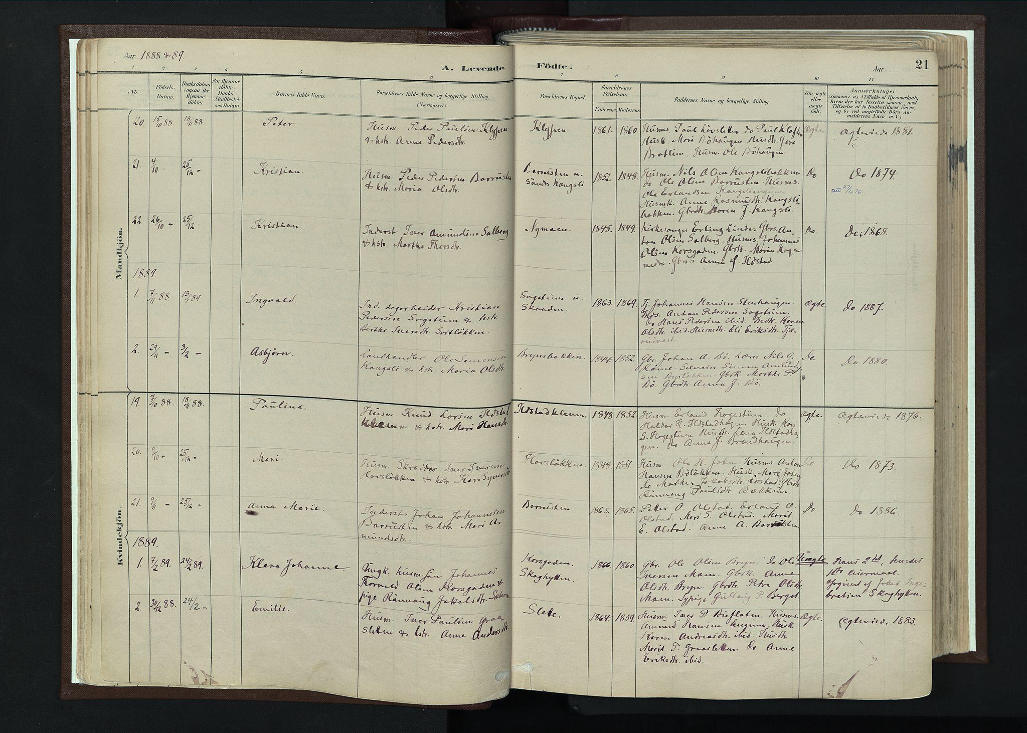 SAH, Nord-Fron prestekontor, Ministerialbok nr. 4, 1884-1914, s. 21