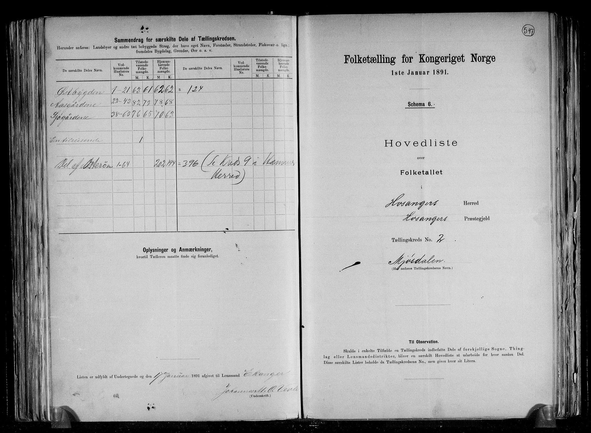 RA, Folketelling 1891 for 1253 Hosanger herred, 1891, s. 6