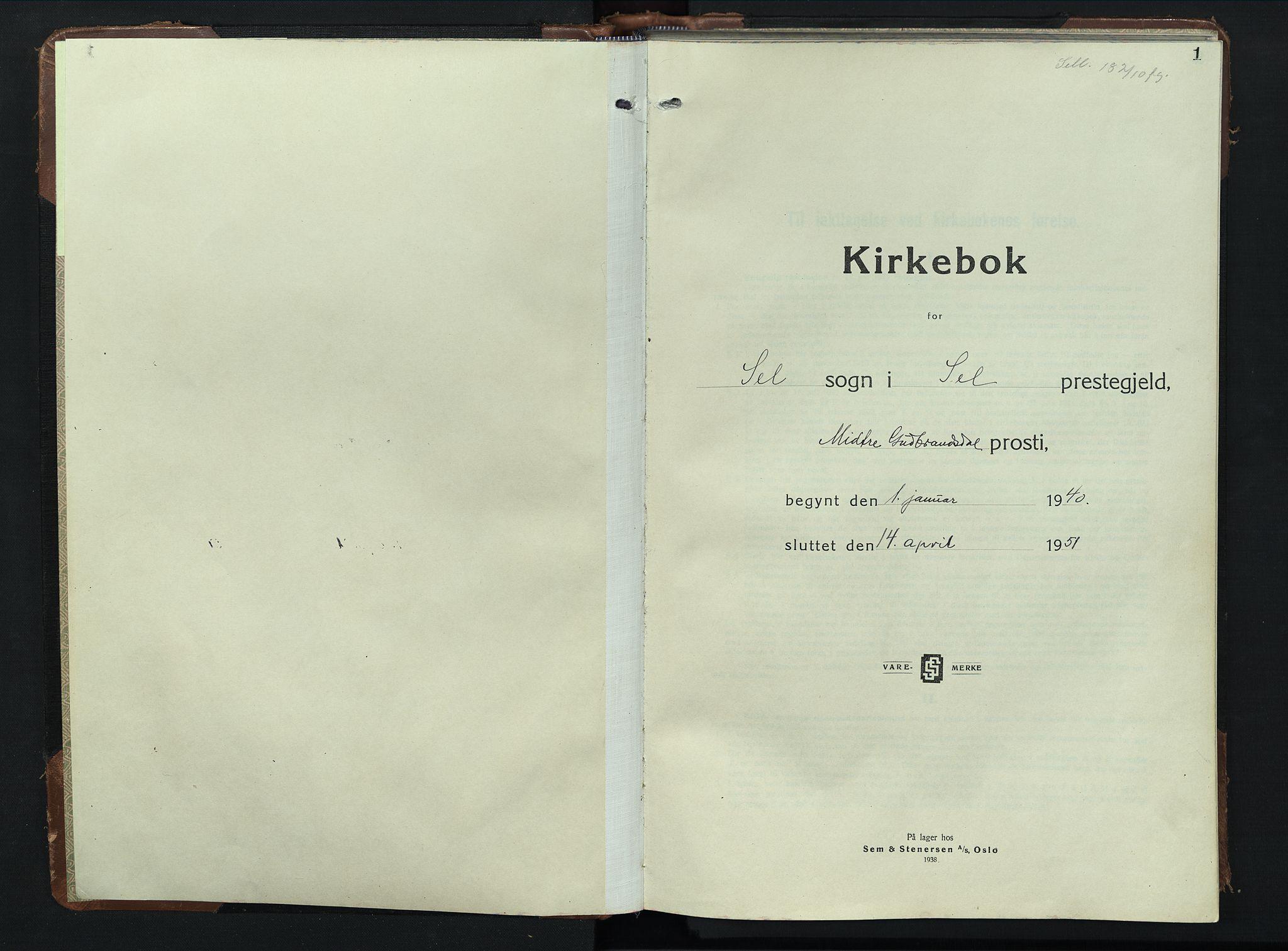 SAH, Sel prestekontor, Klokkerbok nr. 3, 1940-1951, s. 1