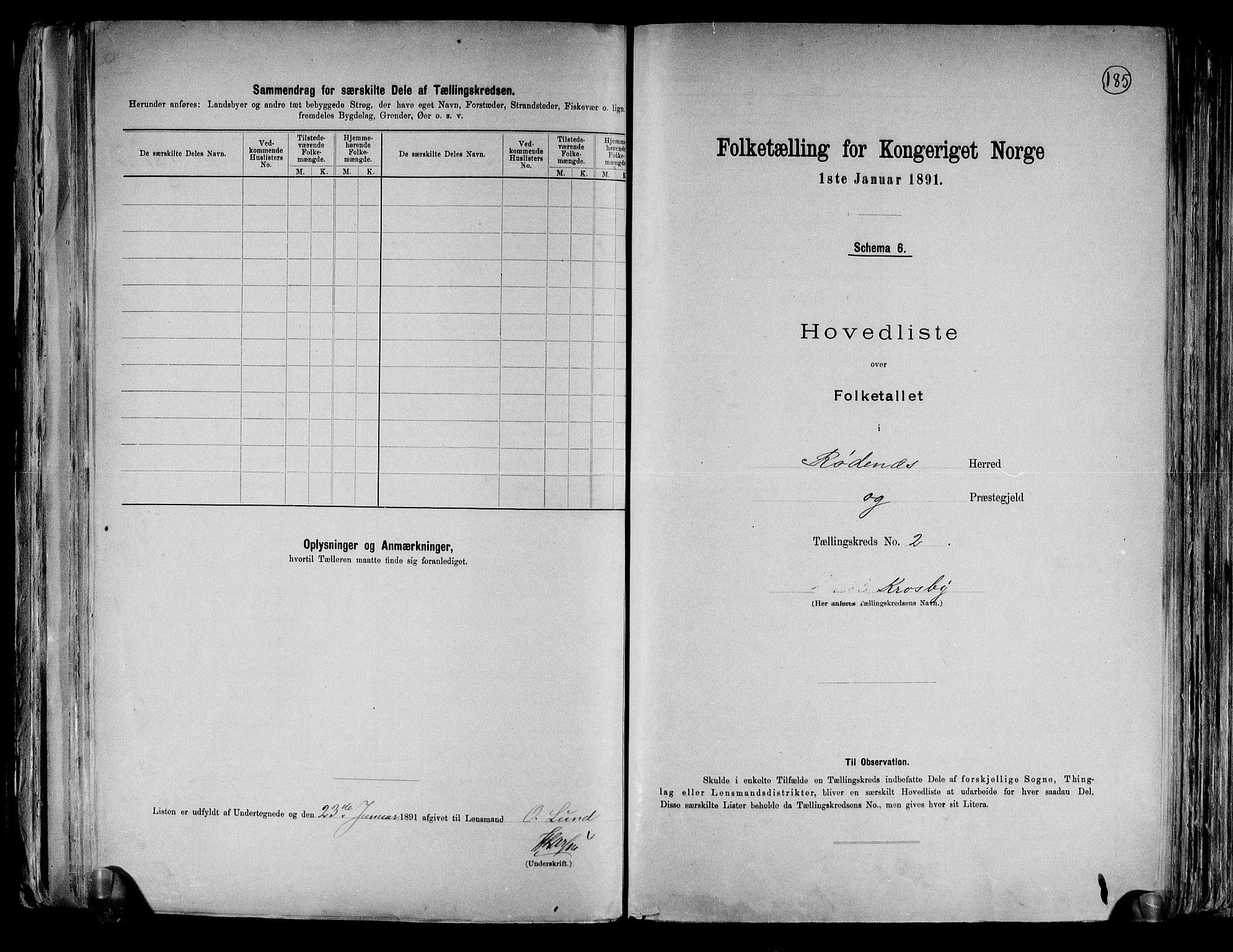 RA, Folketelling 1891 for 0120 Rødenes herred, 1891, s. 6