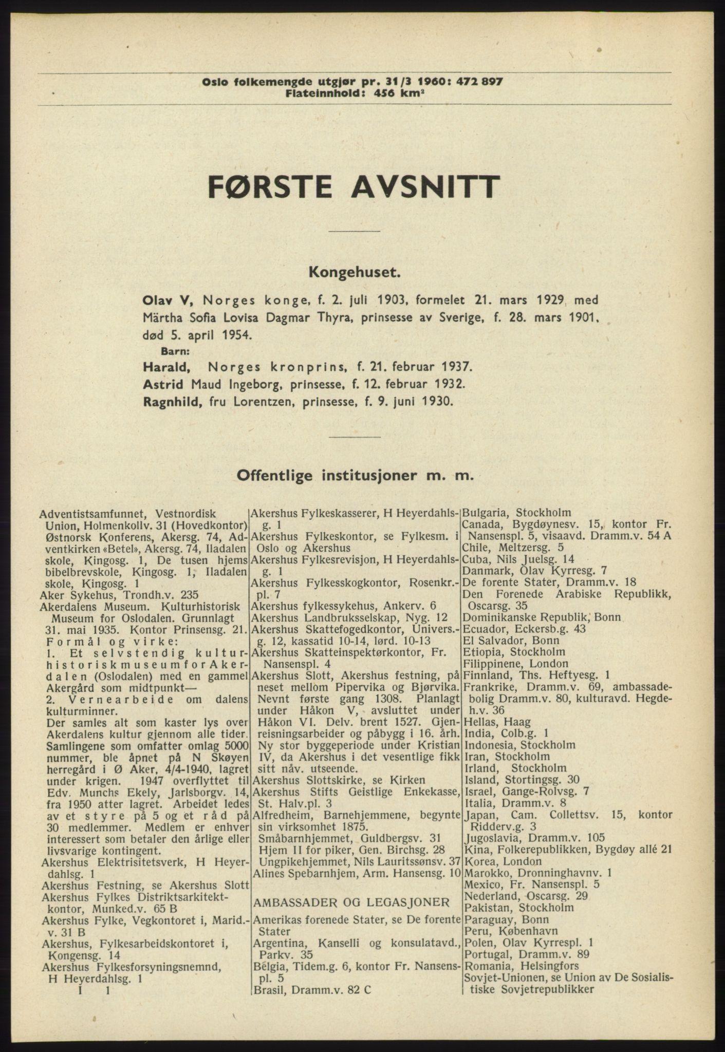 RA, Oslo adressebok (publikasjon)*, 1960-1961, s. 1