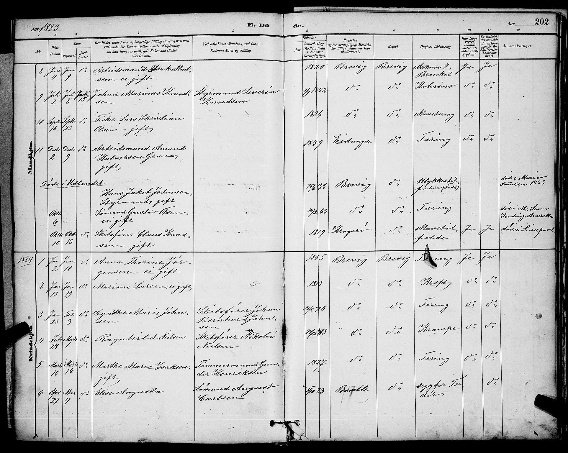 SAKO, Brevik kirkebøker, G/Ga/L0004: Klokkerbok nr. 4, 1882-1900, s. 202