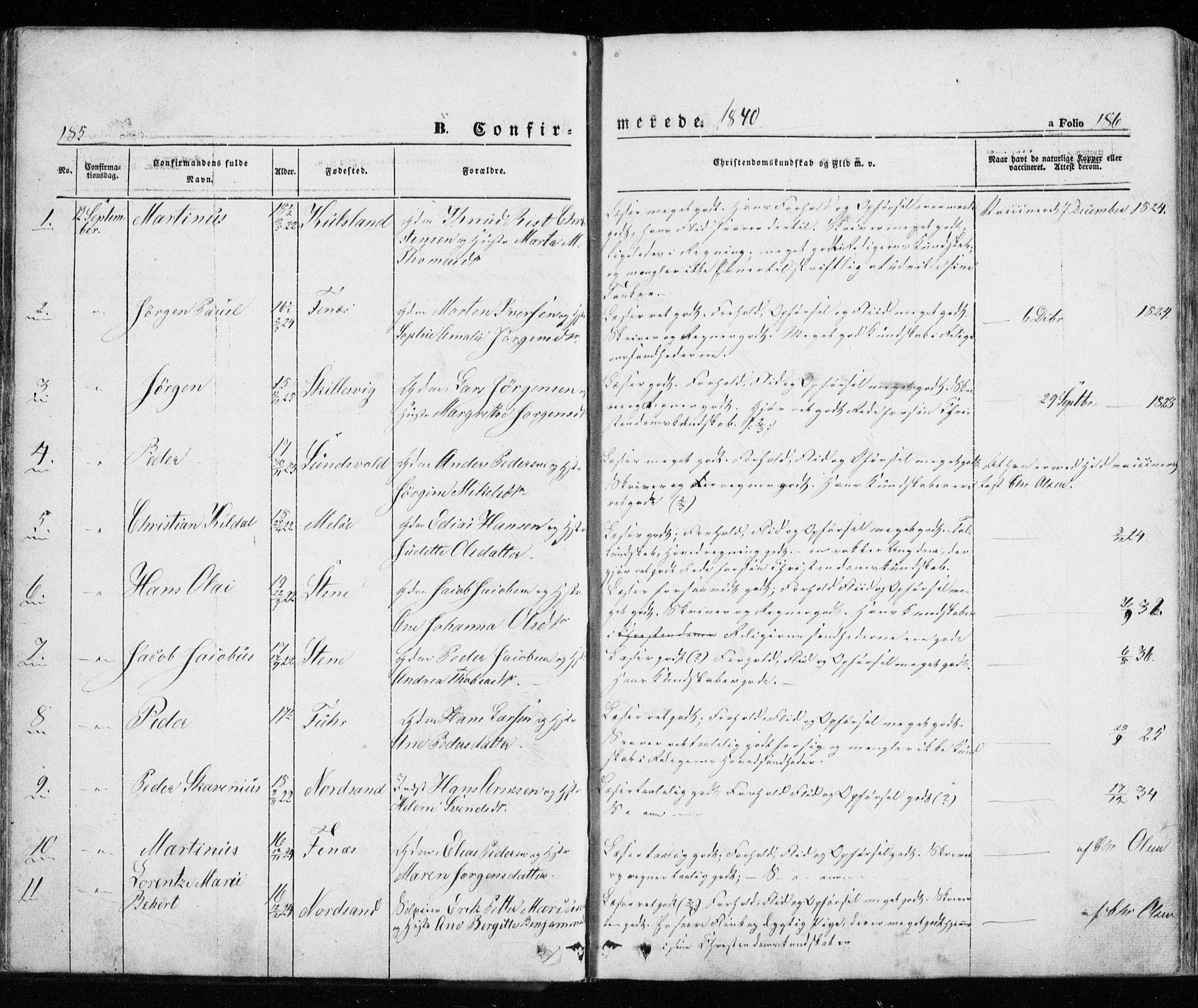 SATØ, Trondenes sokneprestkontor, H/Ha/L0010kirke: Ministerialbok nr. 10, 1840-1865, s. 185-186
