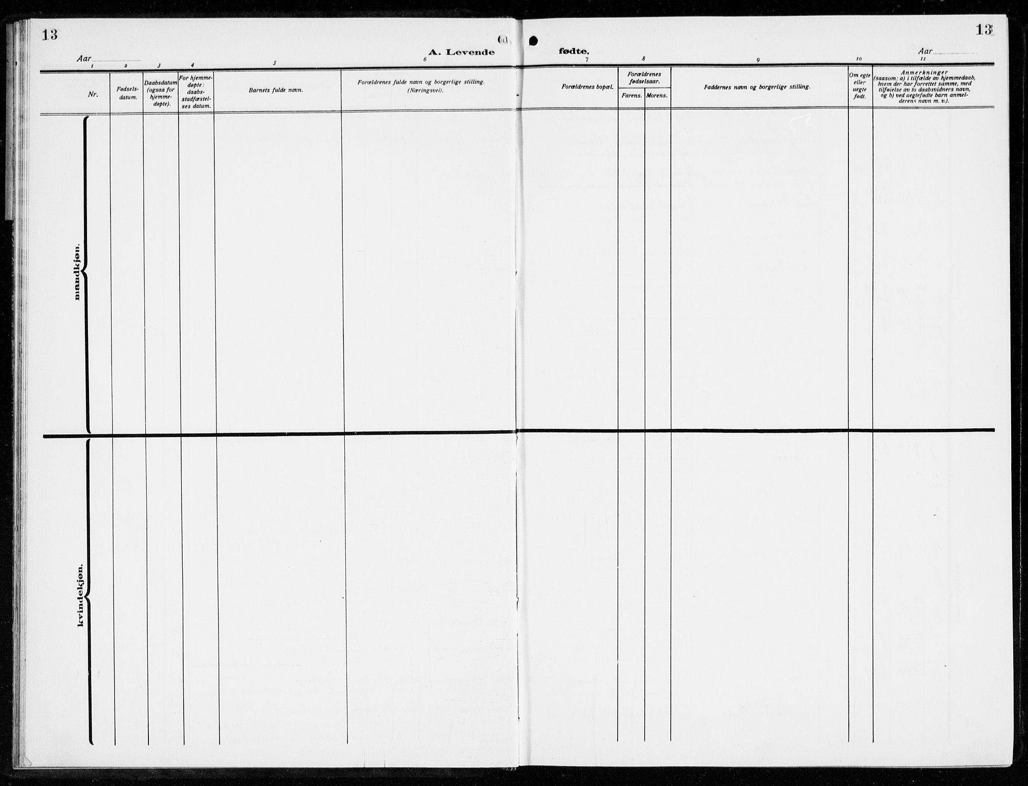 SAKO, Brevik kirkebøker, G/Ga/L0006: Klokkerbok nr. 6, 1922-1940, s. 13