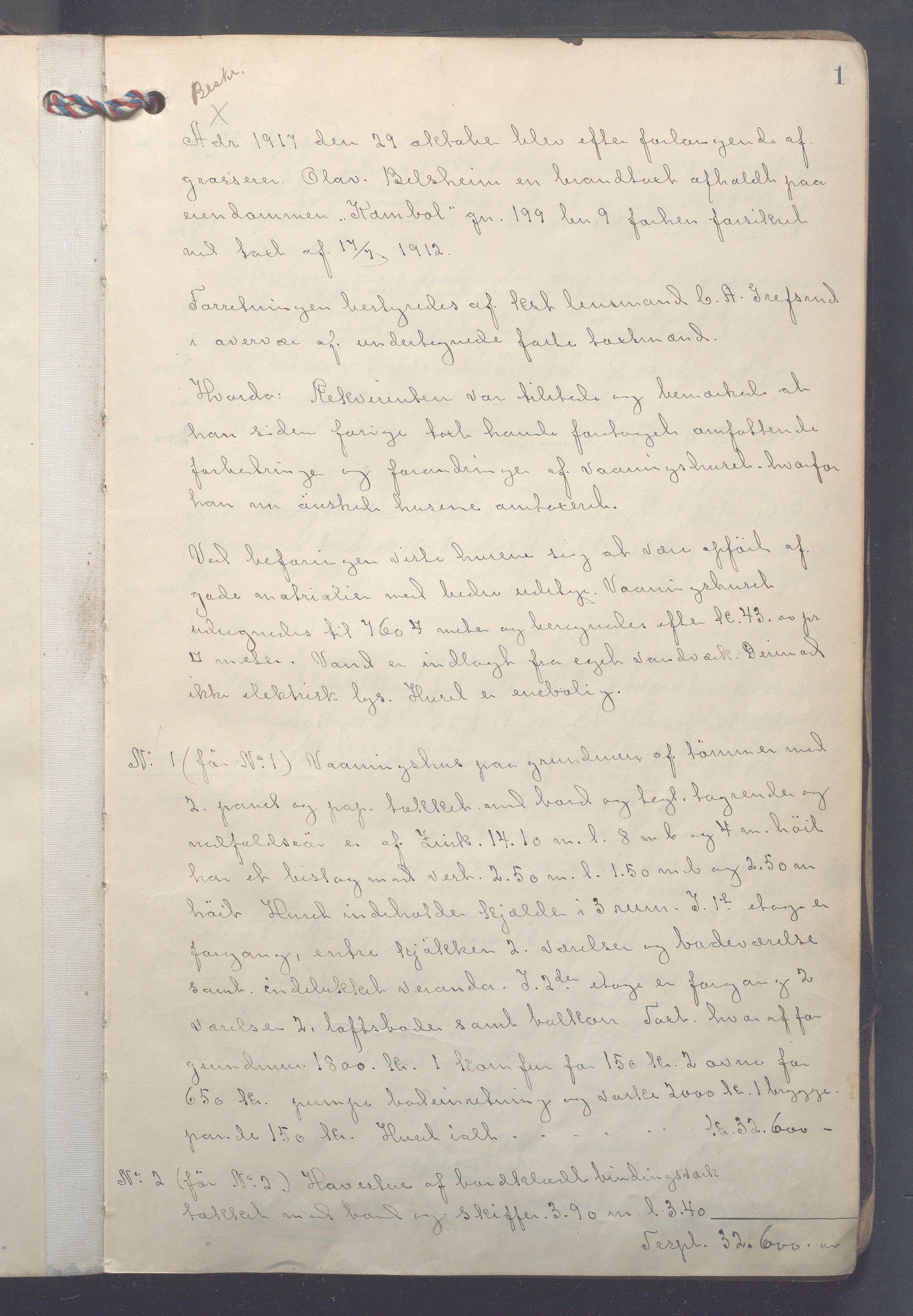 OBA, Lensmennene i Aker, F/Fc/L0019: Branntakstprotokoll, 1917-1920, s. 1