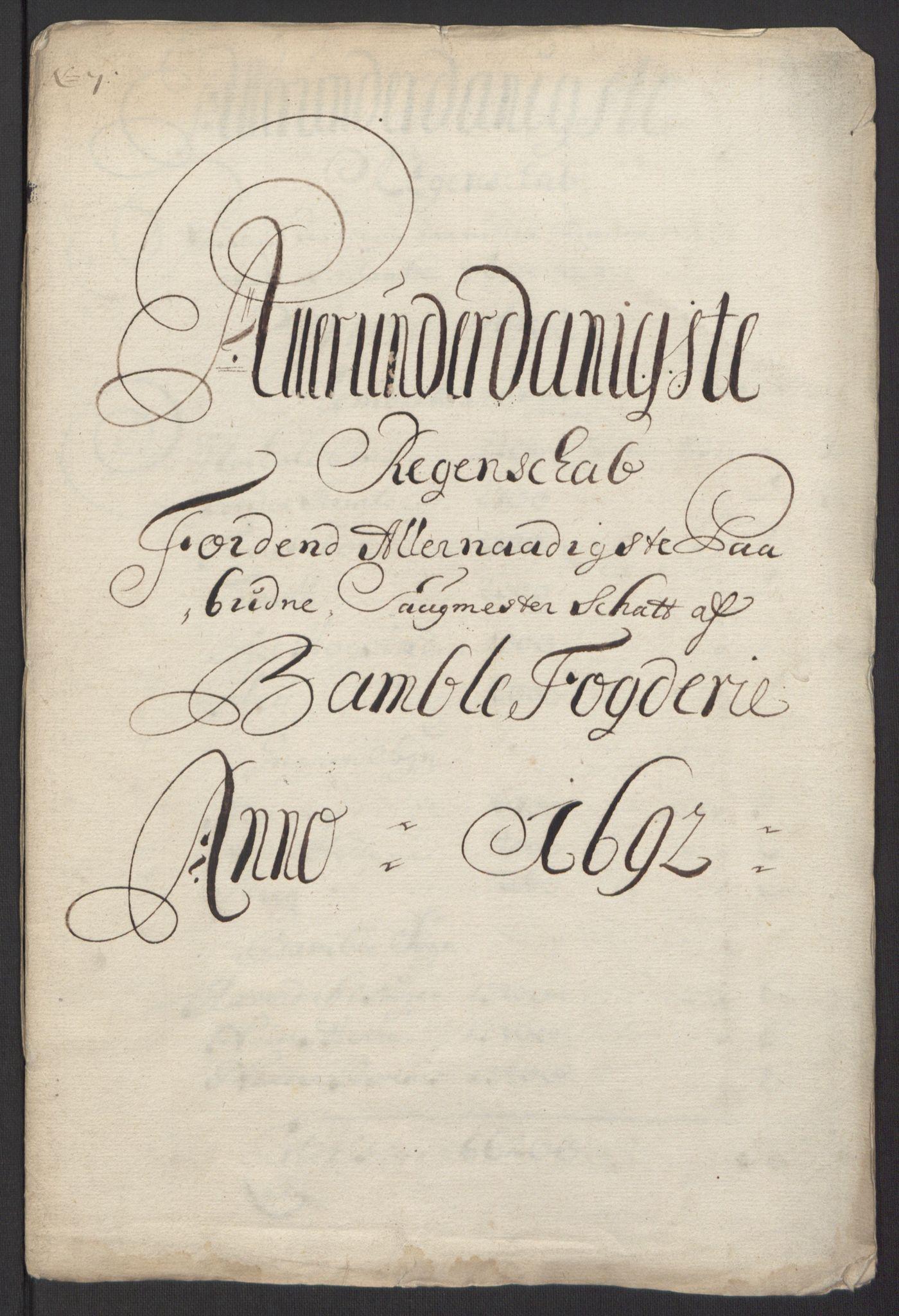 RA, Rentekammeret inntil 1814, Reviderte regnskaper, Fogderegnskap, R34/L2052: Fogderegnskap Bamble, 1692-1693, s. 58
