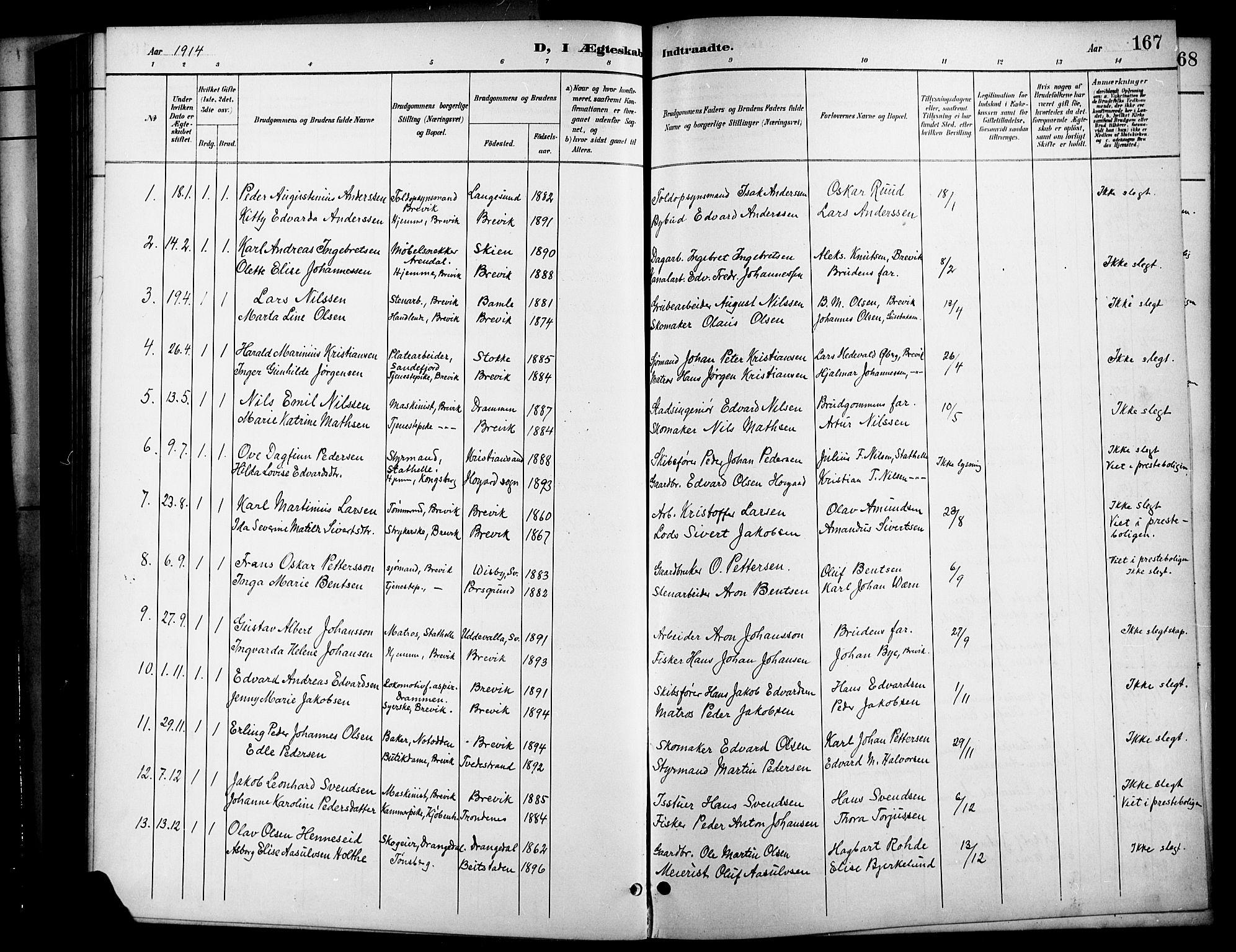 SAKO, Brevik kirkebøker, G/Ga/L0005: Klokkerbok nr. 5, 1901-1924, s. 167