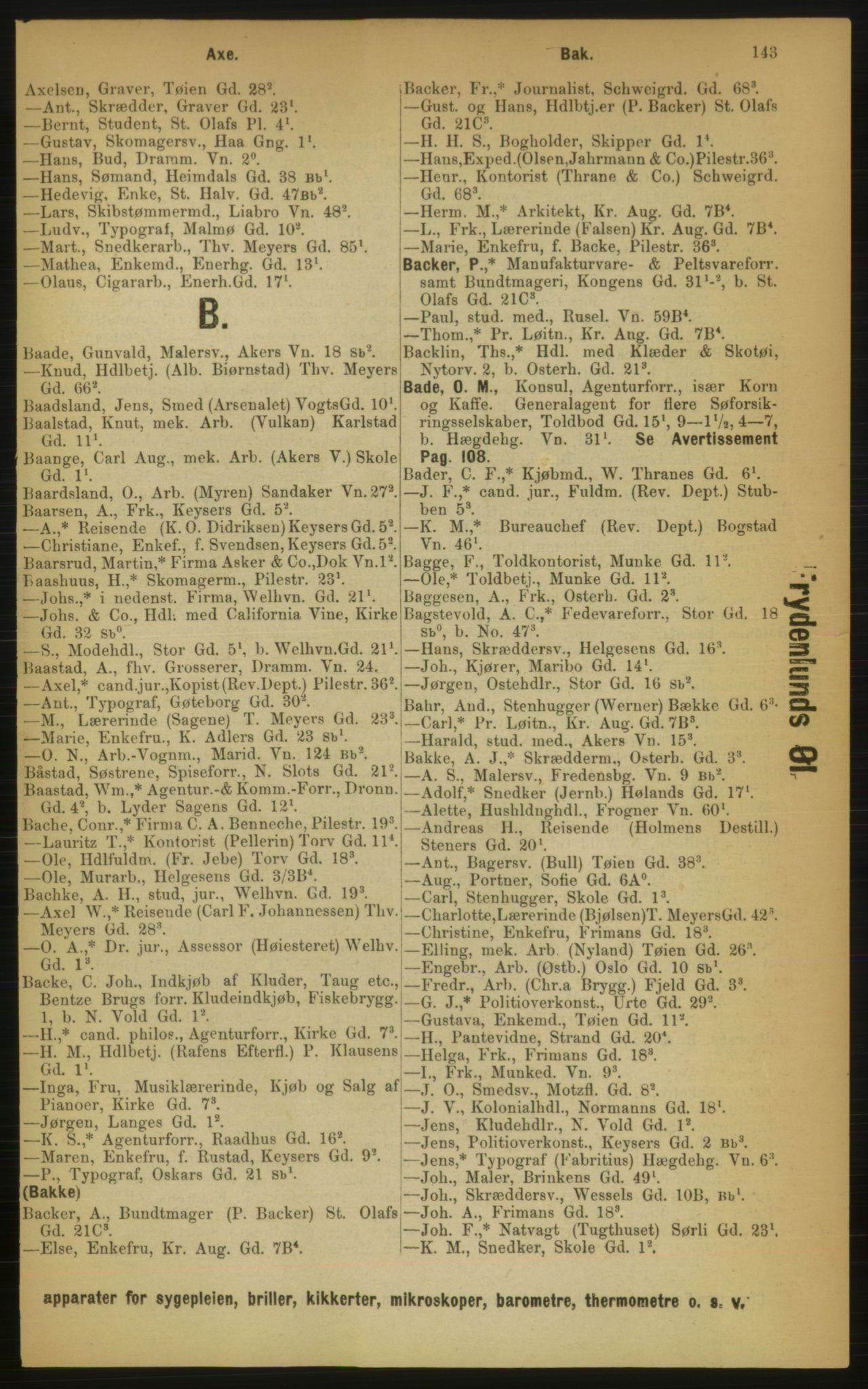RA, Kristiania adressebok (publikasjon)*, 1889, s. 143