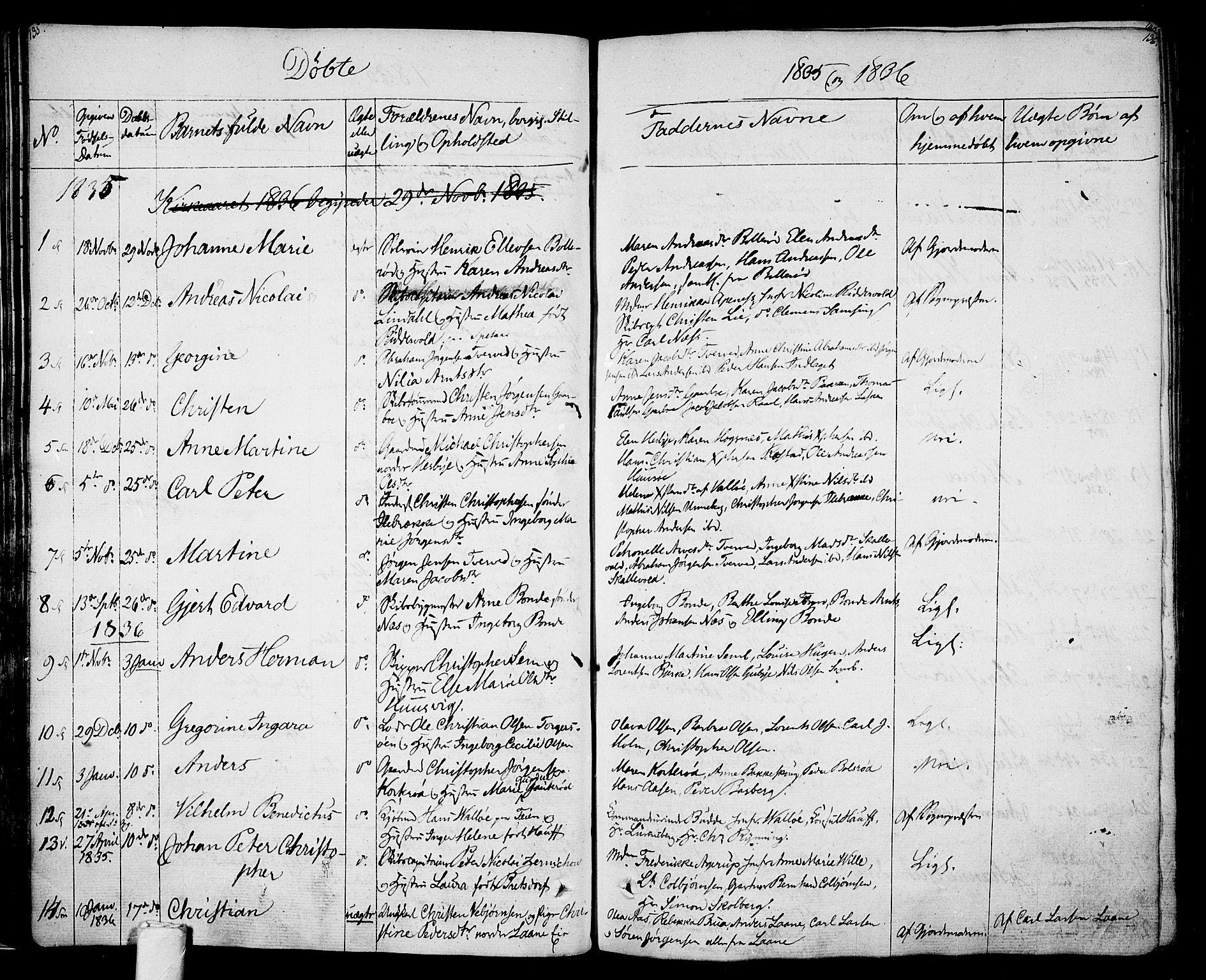 SAKO, Sem kirkebøker, F/Fa/L0005: Ministerialbok nr. I 5, 1825-1842, s. 135-136