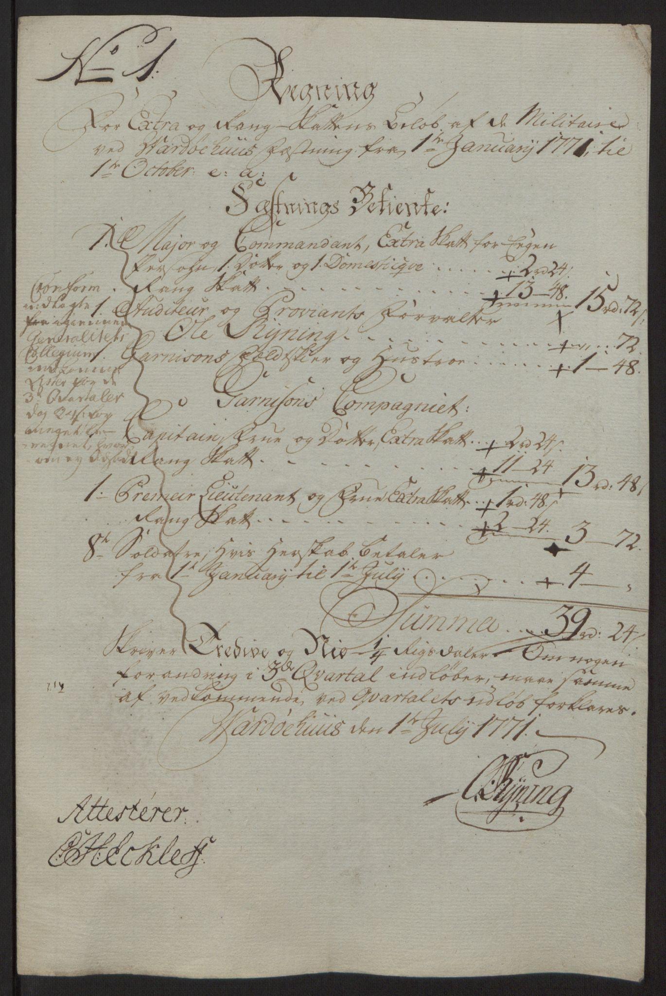 RA, Rentekammeret inntil 1814, Reviderte regnskaper, Fogderegnskap, R69/L4910: Ekstraskatten  Finnmark/Vardøhus, 1762-1772, s. 425