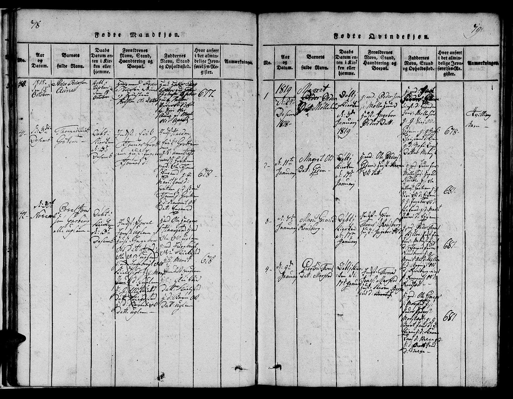 SAT, Ministerialprotokoller, klokkerbøker og fødselsregistre - Sør-Trøndelag, 695/L1152: Klokkerbok nr. 695C03, 1816-1831, s. 78-79