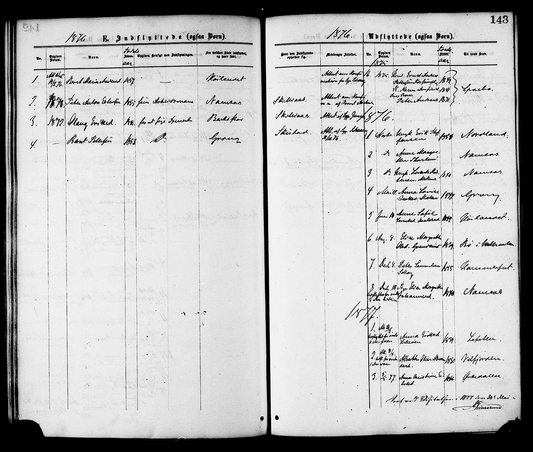 SAT, Ministerialprotokoller, klokkerbøker og fødselsregistre - Nord-Trøndelag, 764/L0554: Ministerialbok nr. 764A09, 1867-1880, s. 143