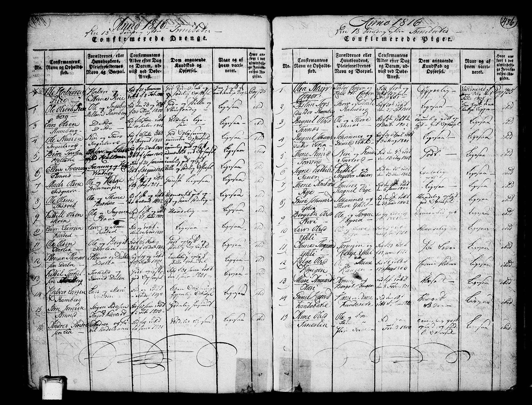 SAKO, Heddal kirkebøker, F/Fa/L0005: Ministerialbok nr. I 5, 1814-1837, s. 485-486