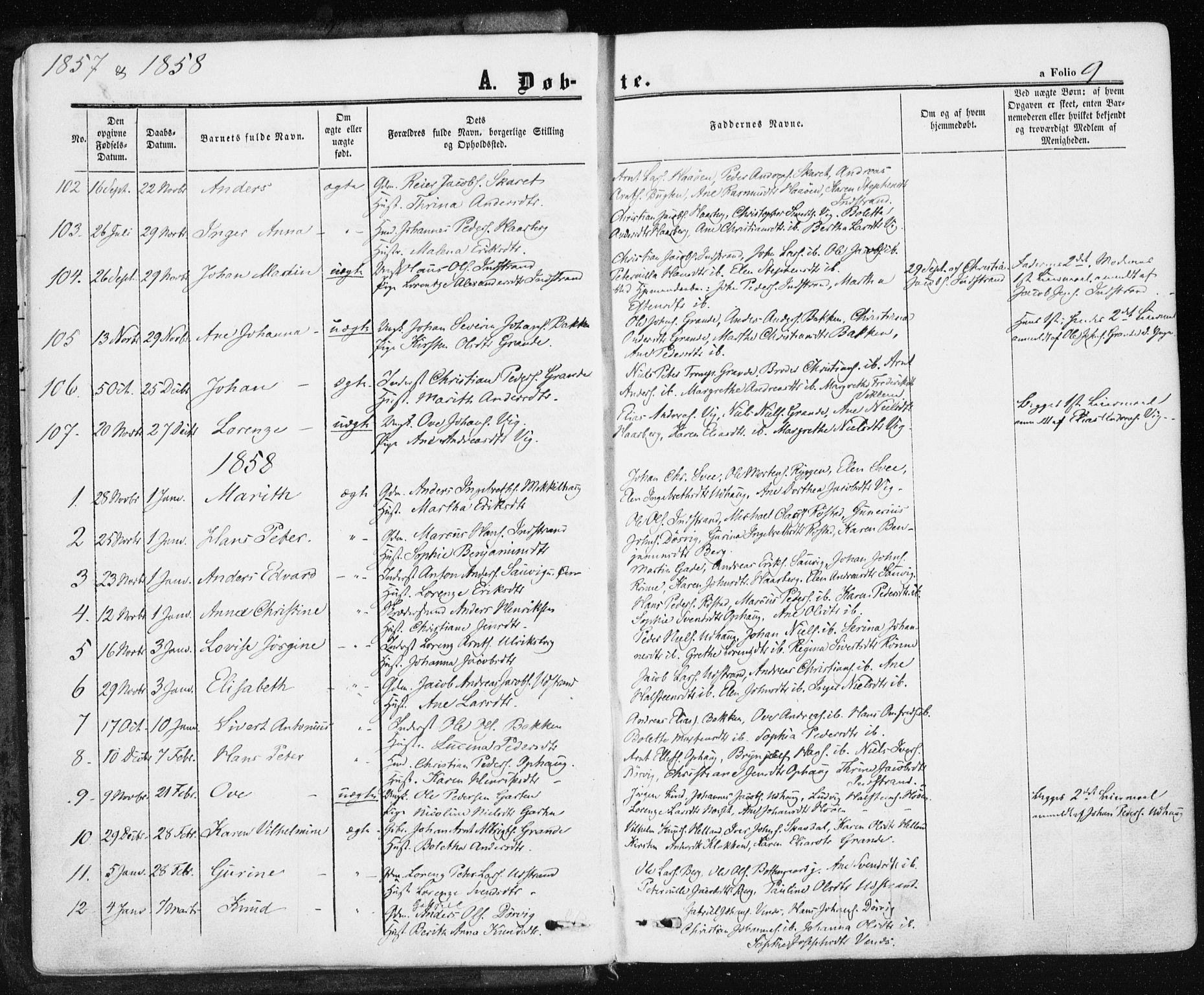 SAT, Ministerialprotokoller, klokkerbøker og fødselsregistre - Sør-Trøndelag, 659/L0737: Ministerialbok nr. 659A07, 1857-1875, s. 9
