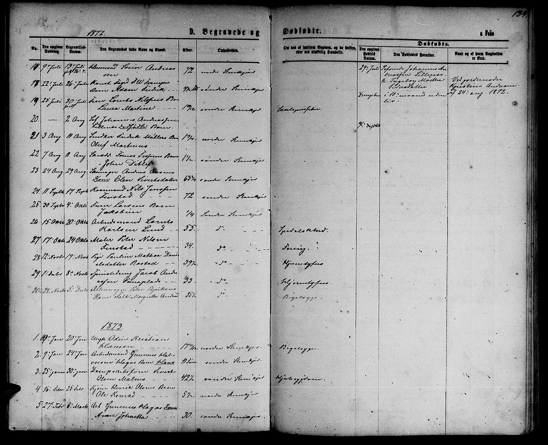 SAT, Ministerialprotokoller, klokkerbøker og fødselsregistre - Nord-Trøndelag, 739/L0373: Klokkerbok nr. 739C01, 1865-1882, s. 134
