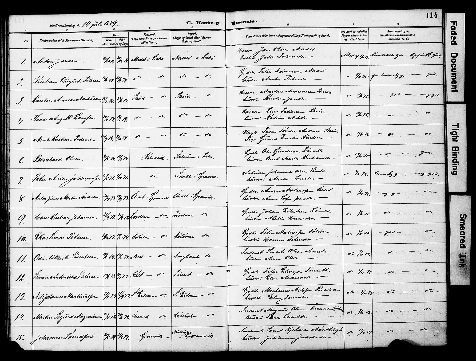 SAT, Ministerialprotokoller, klokkerbøker og fødselsregistre - Nord-Trøndelag, 788/L0701: Klokkerbok nr. 788C01, 1888-1913, s. 114