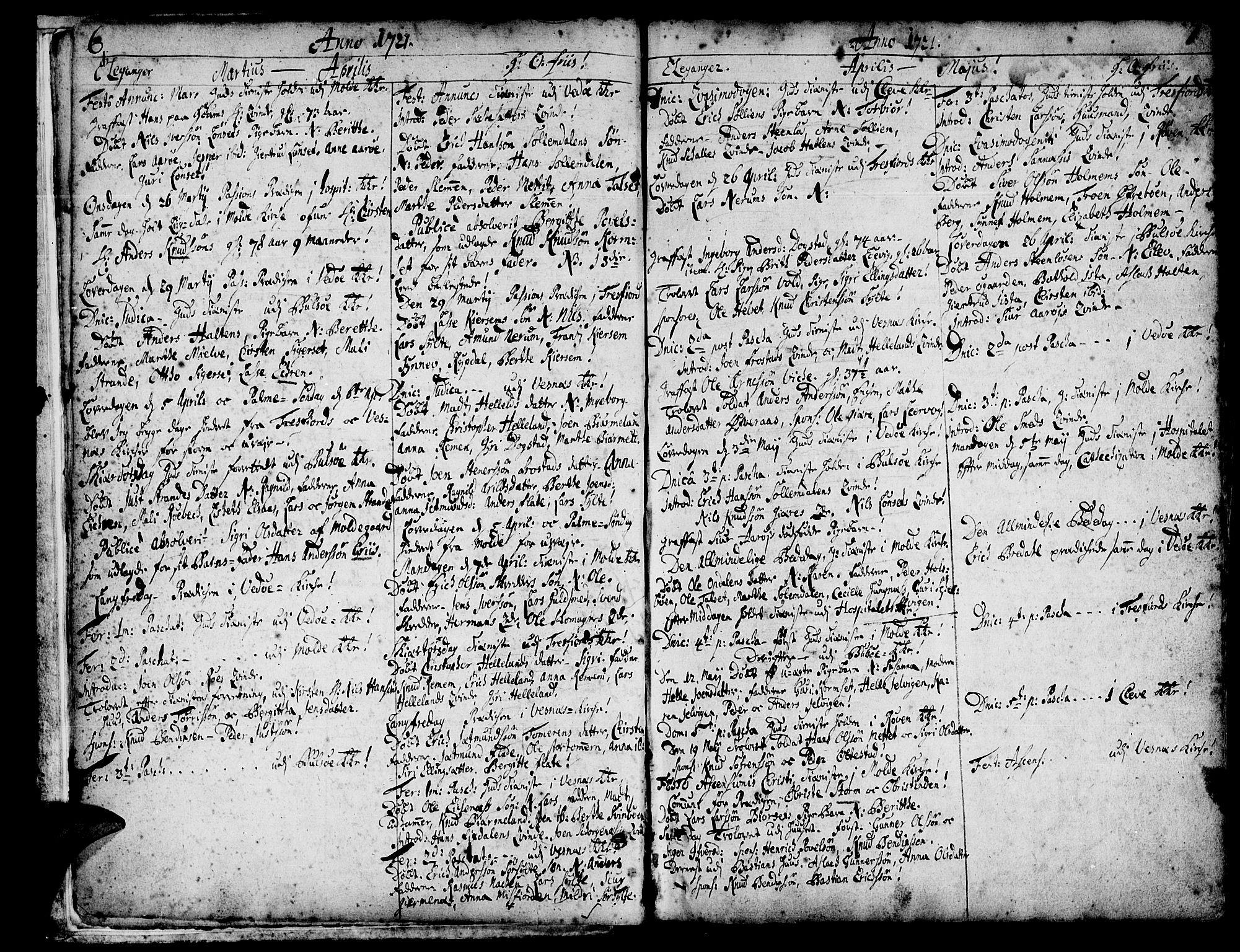 SAT, Ministerialprotokoller, klokkerbøker og fødselsregistre - Møre og Romsdal, 547/L0599: Ministerialbok nr. 547A01, 1721-1764, s. 6-7