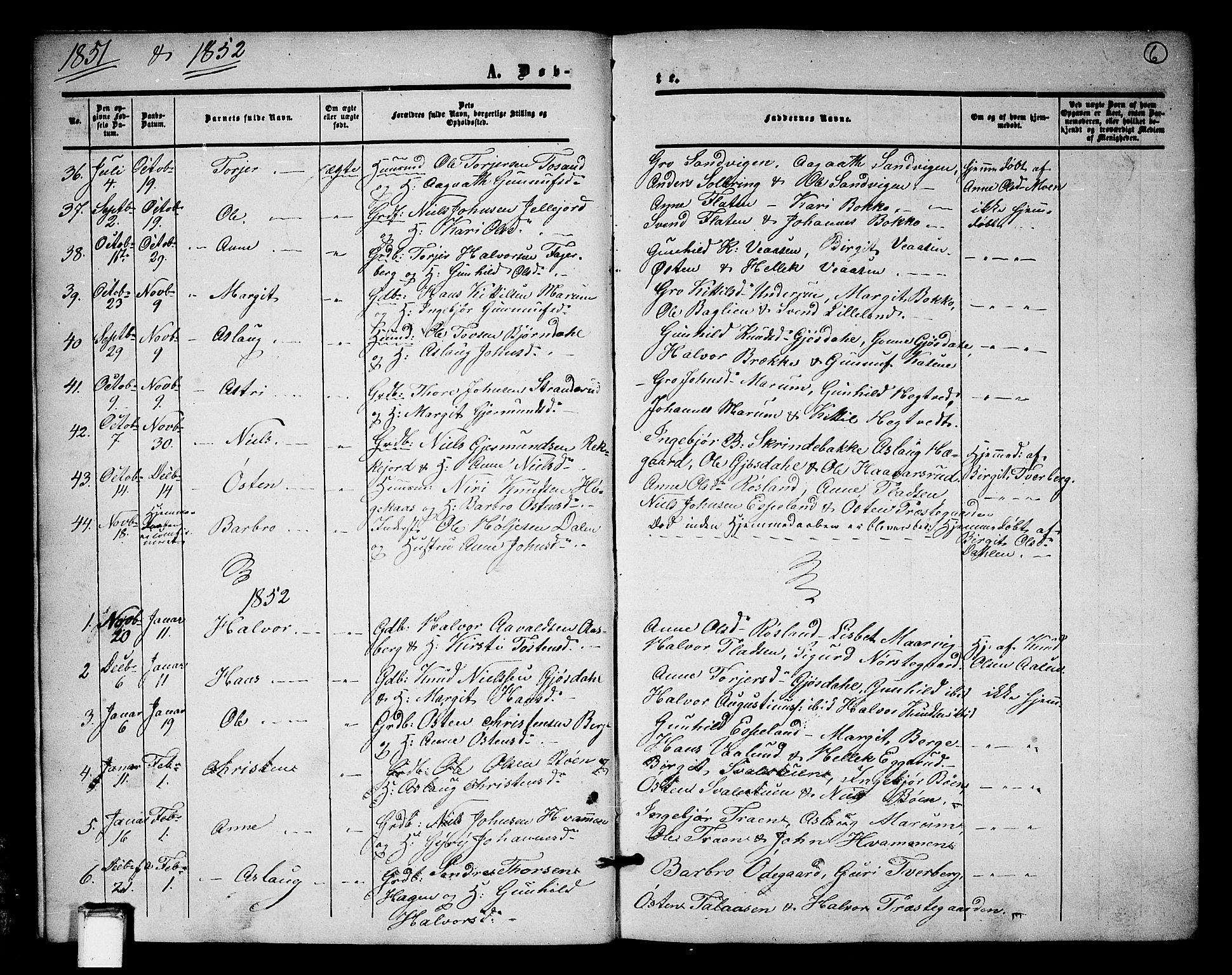 SAKO, Tinn kirkebøker, G/Ga/L0002: Klokkerbok nr. I 2, 1851-1883, s. 6
